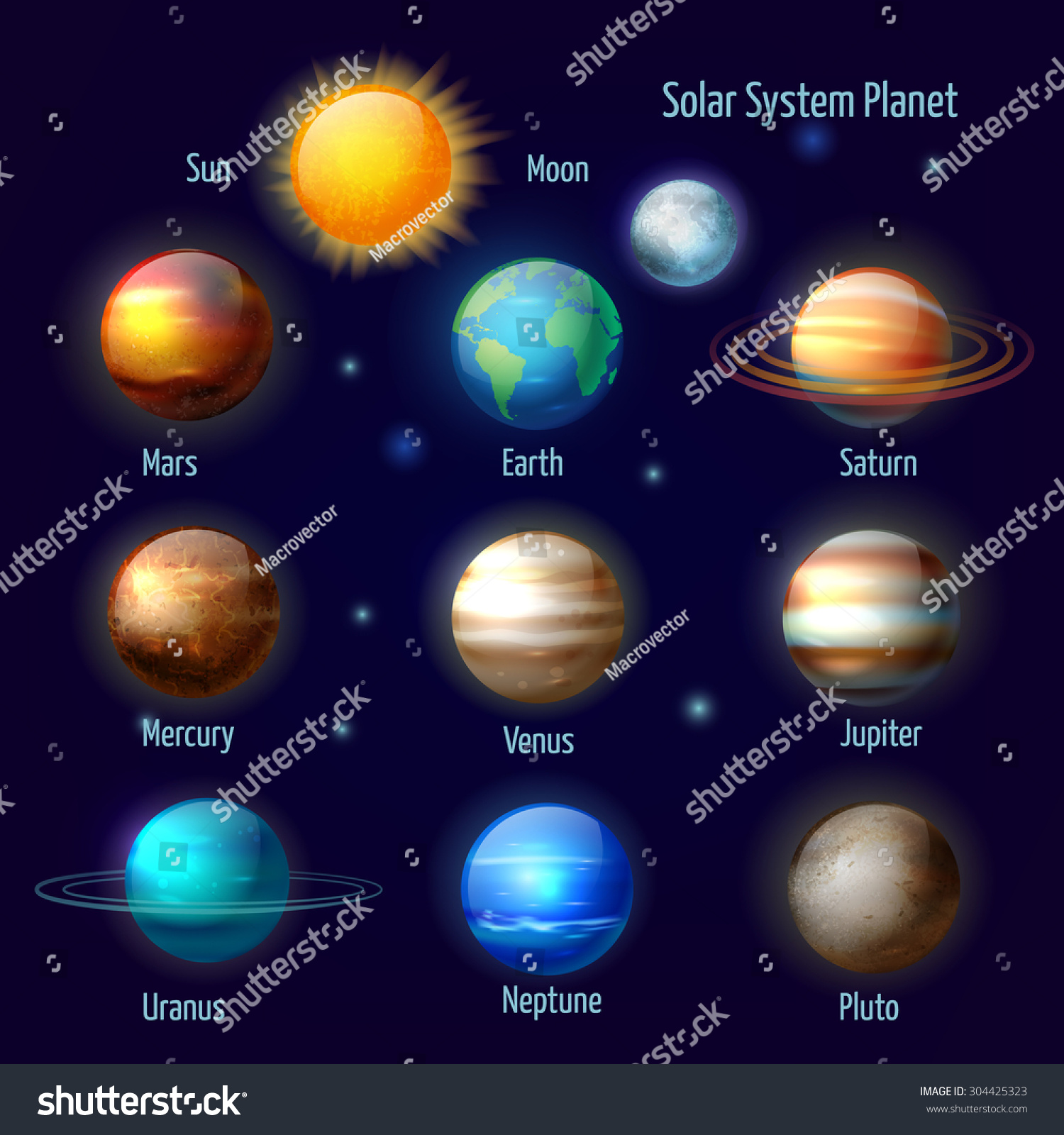 Royalty-free Solar system 8 planets and pluto with ...