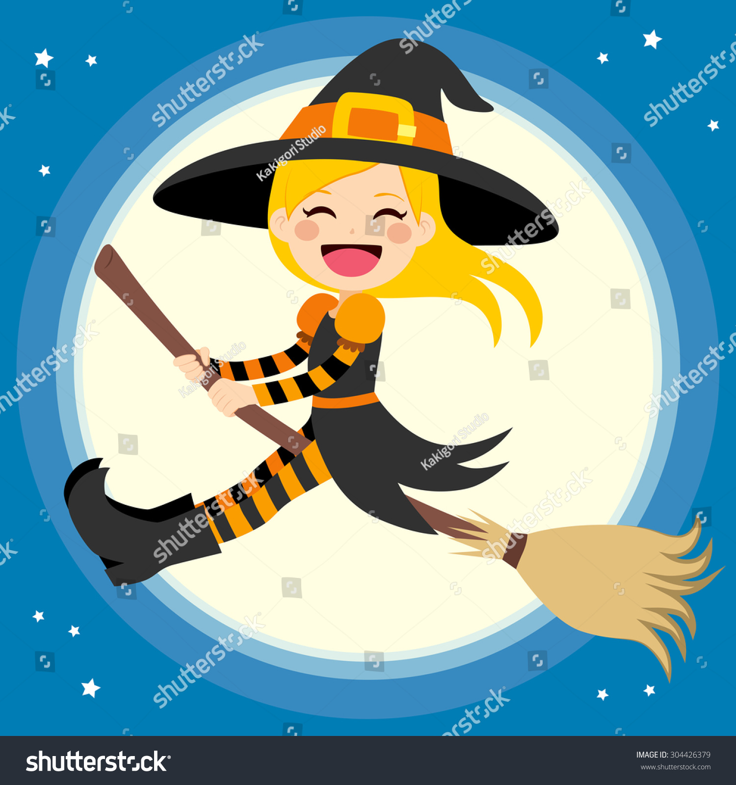 cute little blonde witch flying stock vector 304426379