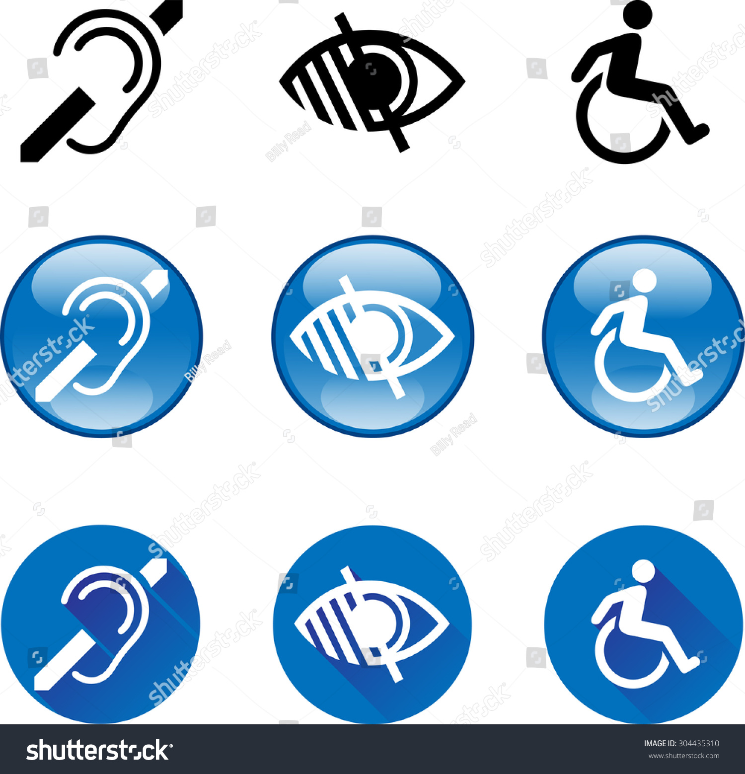 Deaf Blind Disabled Icons 1 Vector Stock Vector Royalty Free