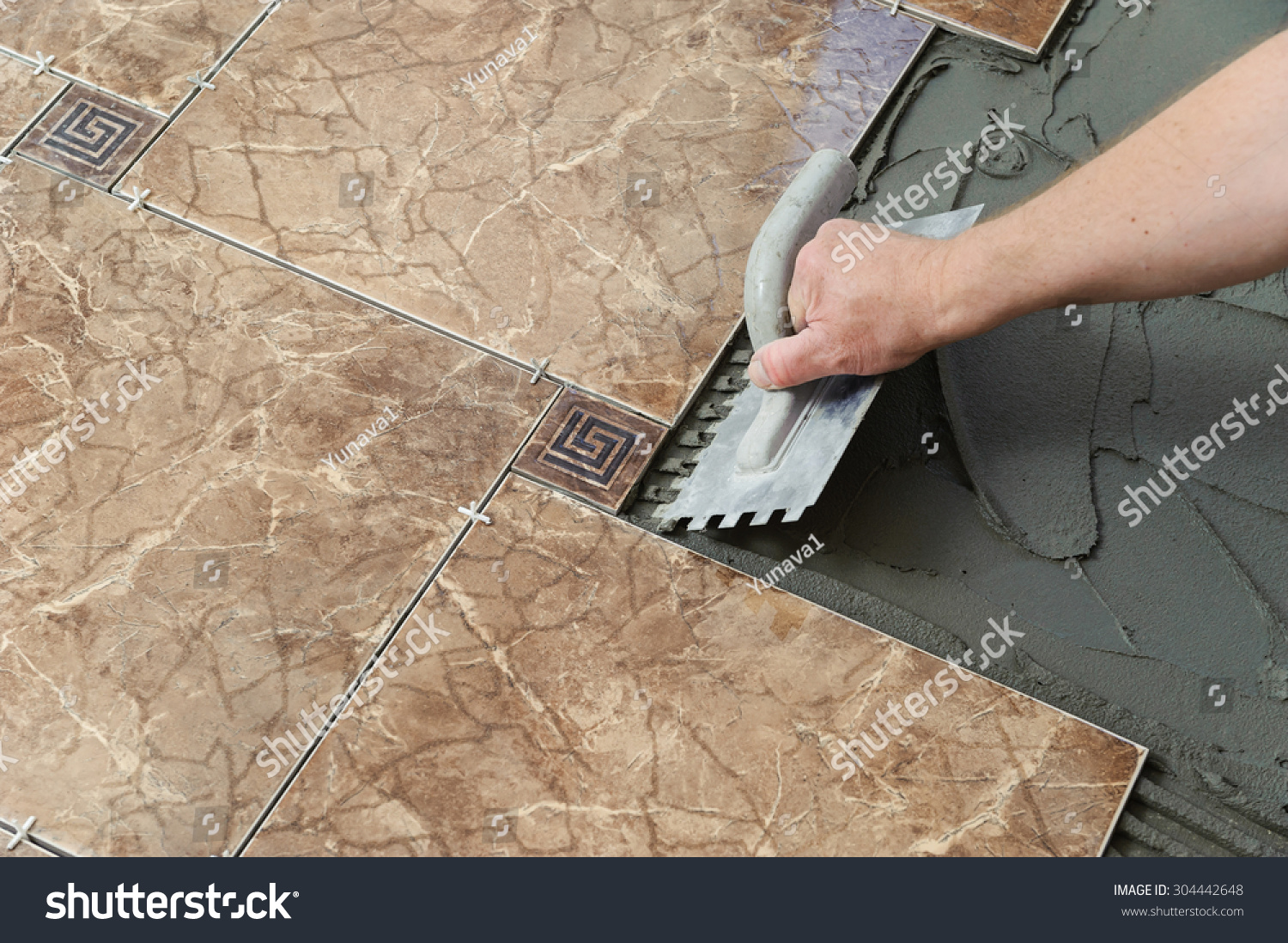 Laying Ceramic Tiles Troweling Adhesive Onto Stock Photo Edit Now