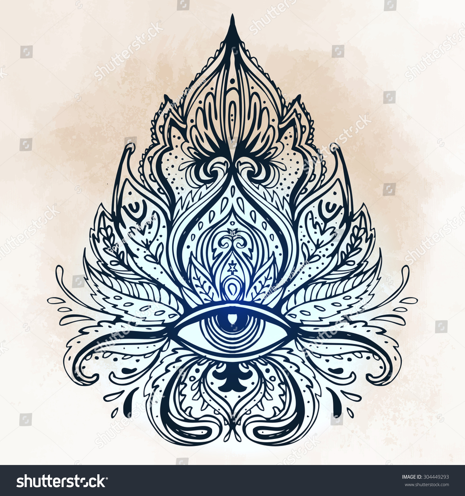 All Seeing Eye Ornate Composition Hand Stock Vector