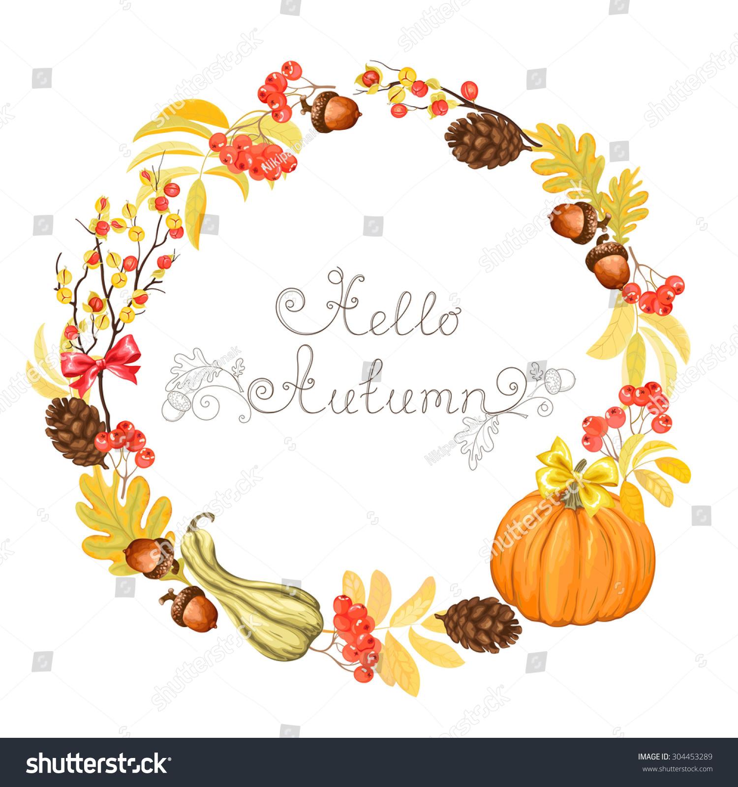 Autumn Wreath Pumpkins Acorns Pine Cones Stock Vector ...