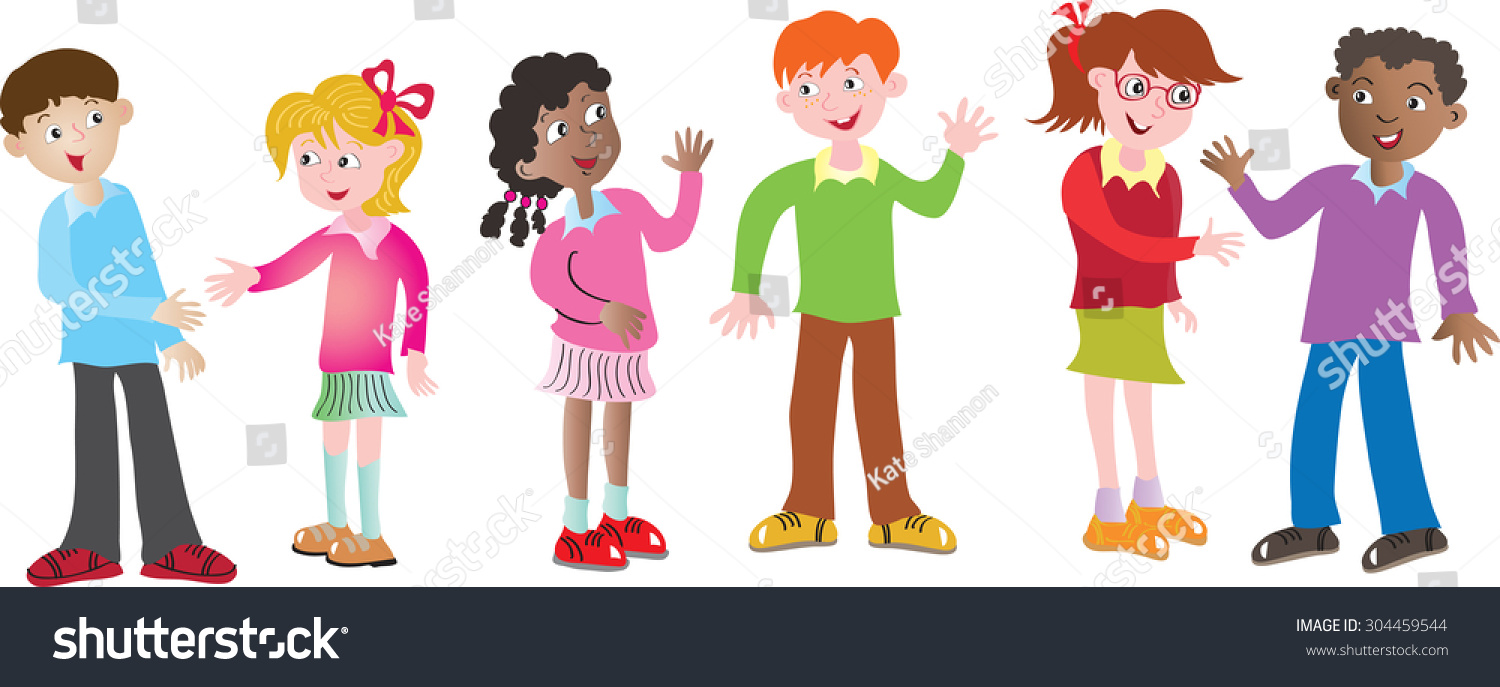 Six cartoon multicultural children greeting each stock vector six cartoon multicultural children greeting each other m4hsunfo