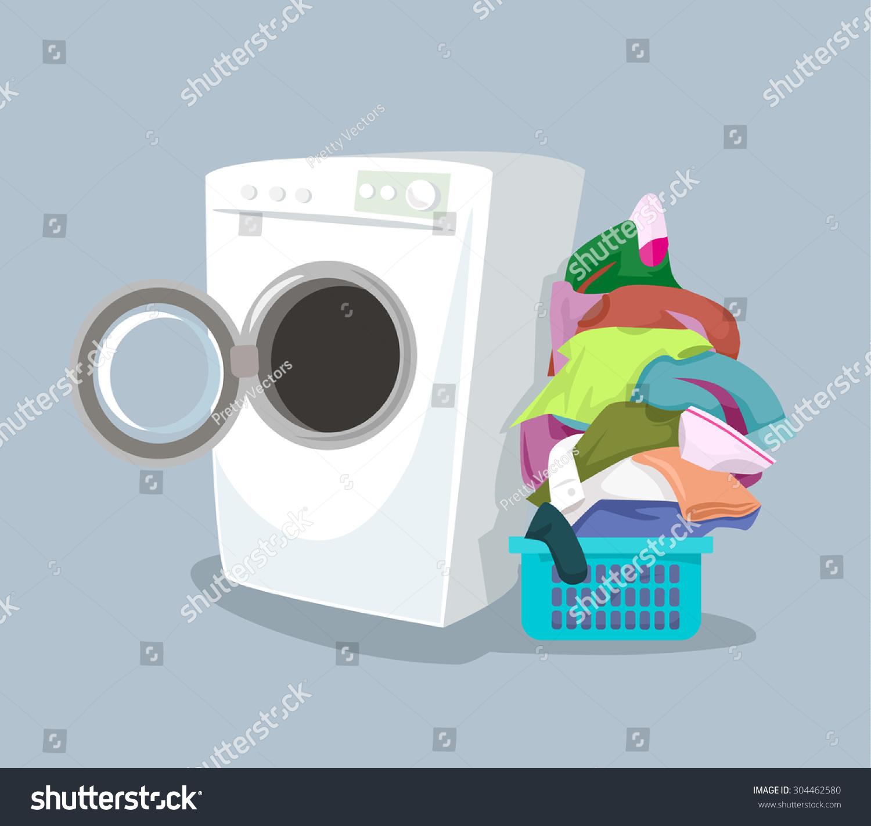 Cartoon Washer And Dryer ~ Vector washing machine flat cartoon illustration stock