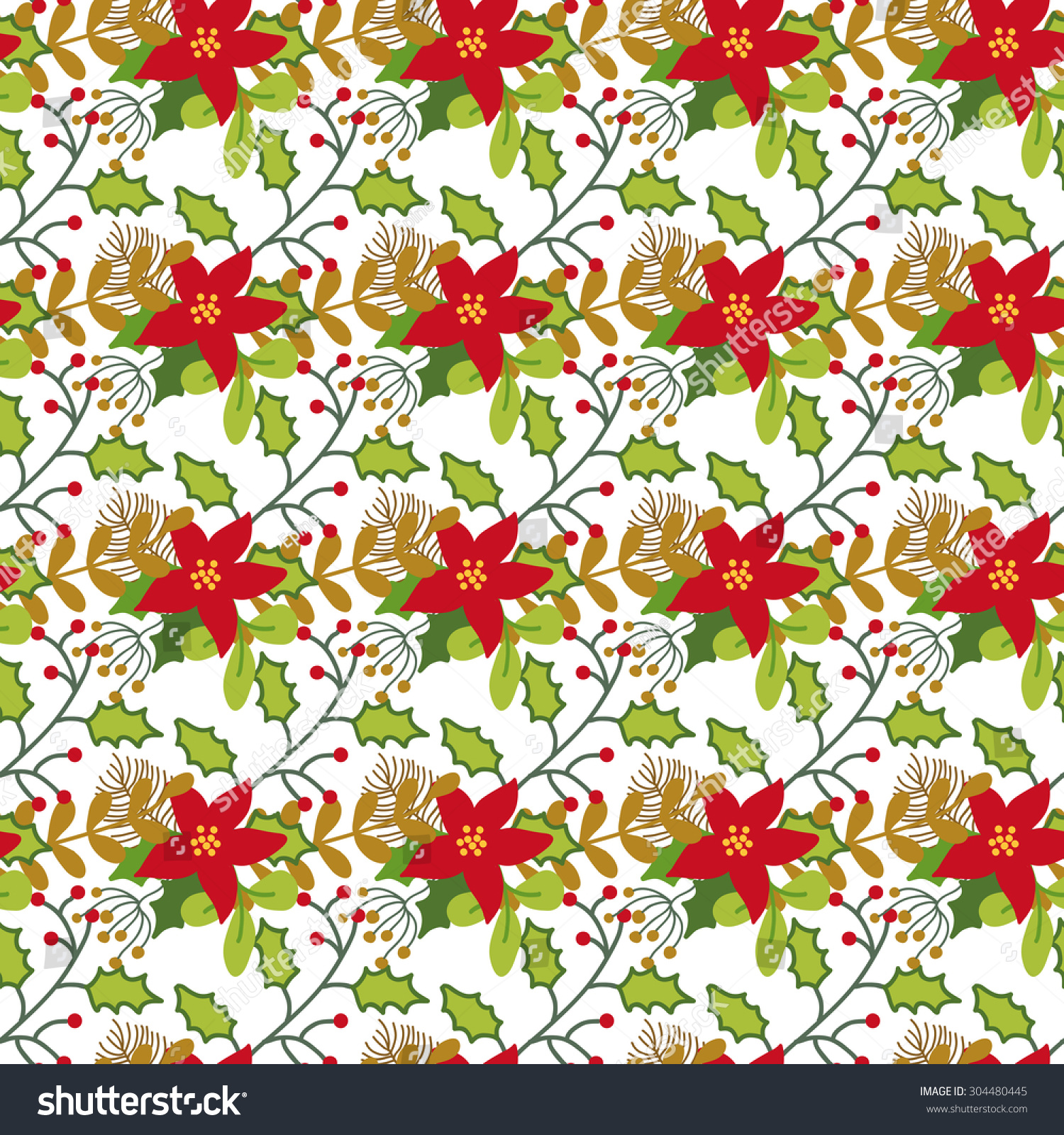 seamless christmas new year pattern cute stock vector (royalty free