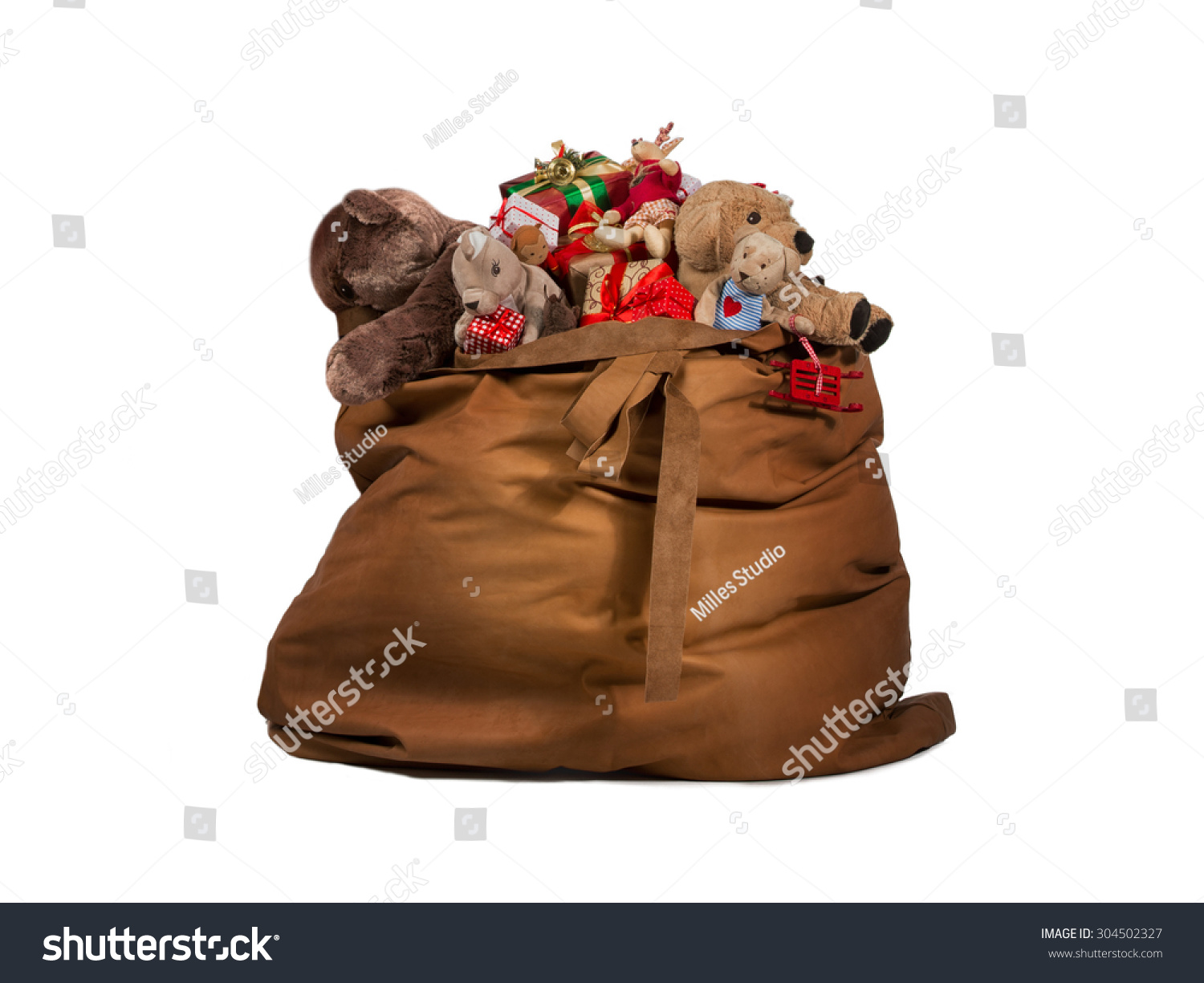 Gift Bag Toys : Santa claus gift bag full toys stock photo