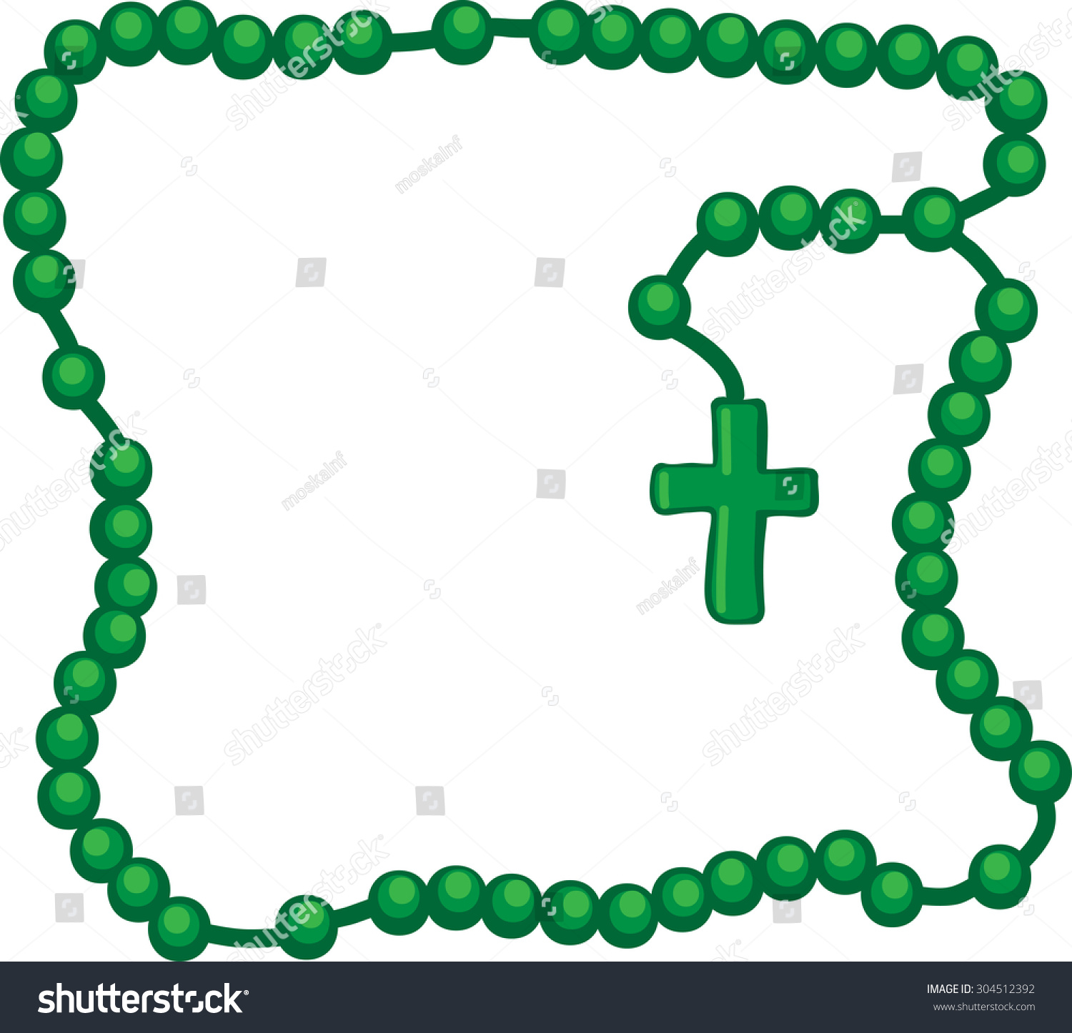 Holy Rosary Green Frame Rosary Wooden Stock Vector Royalty Free