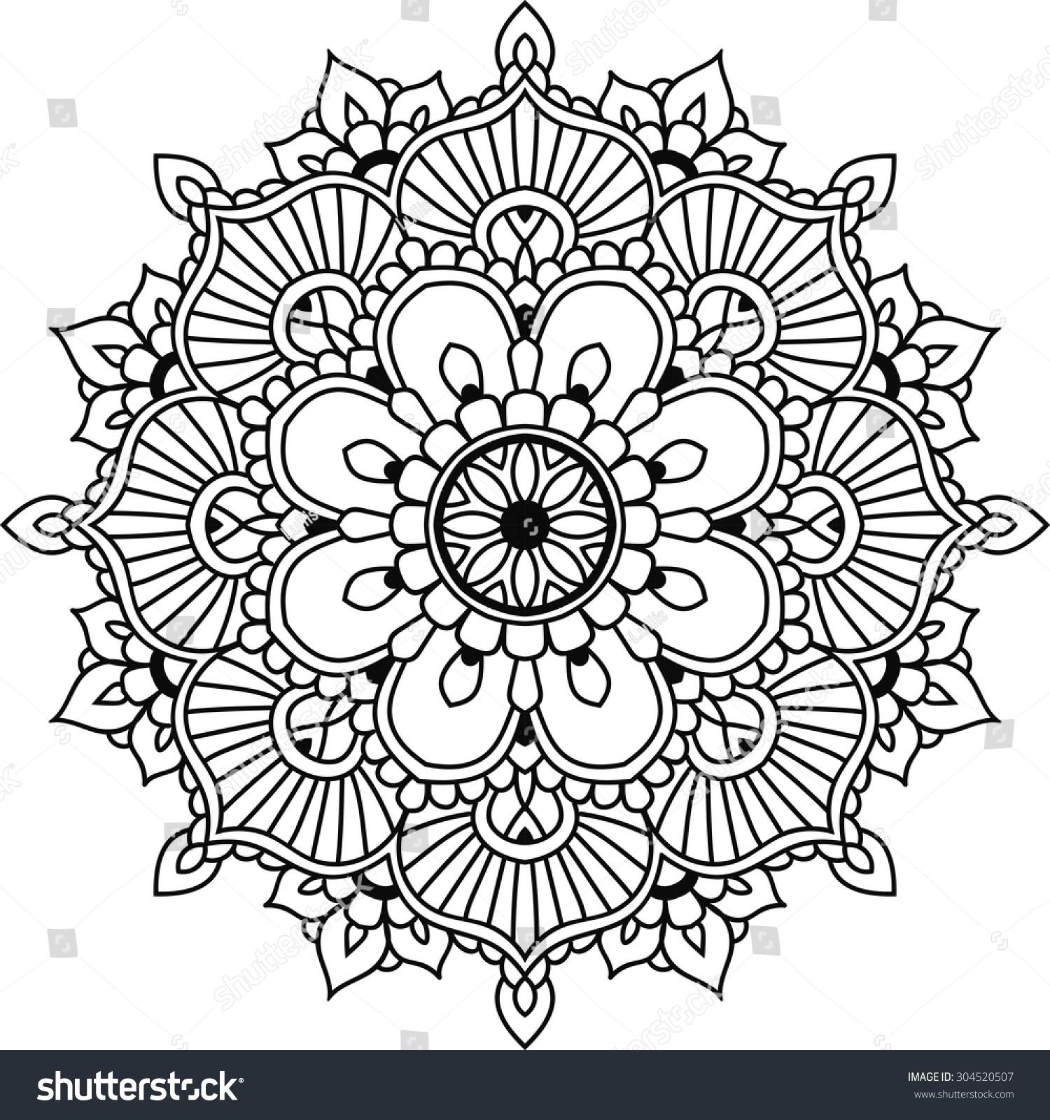 Simple Floral Mandala Design Mehendi Stock Vector