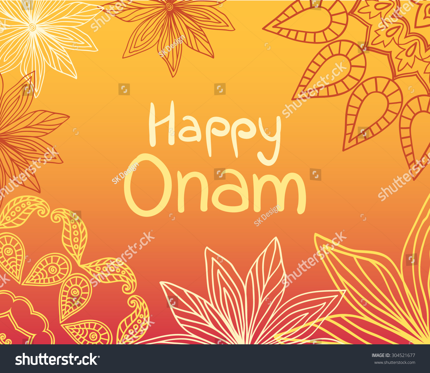 Happy onam greeting card indian festival stock illustration happy onam greeting card indian festival celebration beautiful floral vintage decoration in mehndi style kristyandbryce Image collections