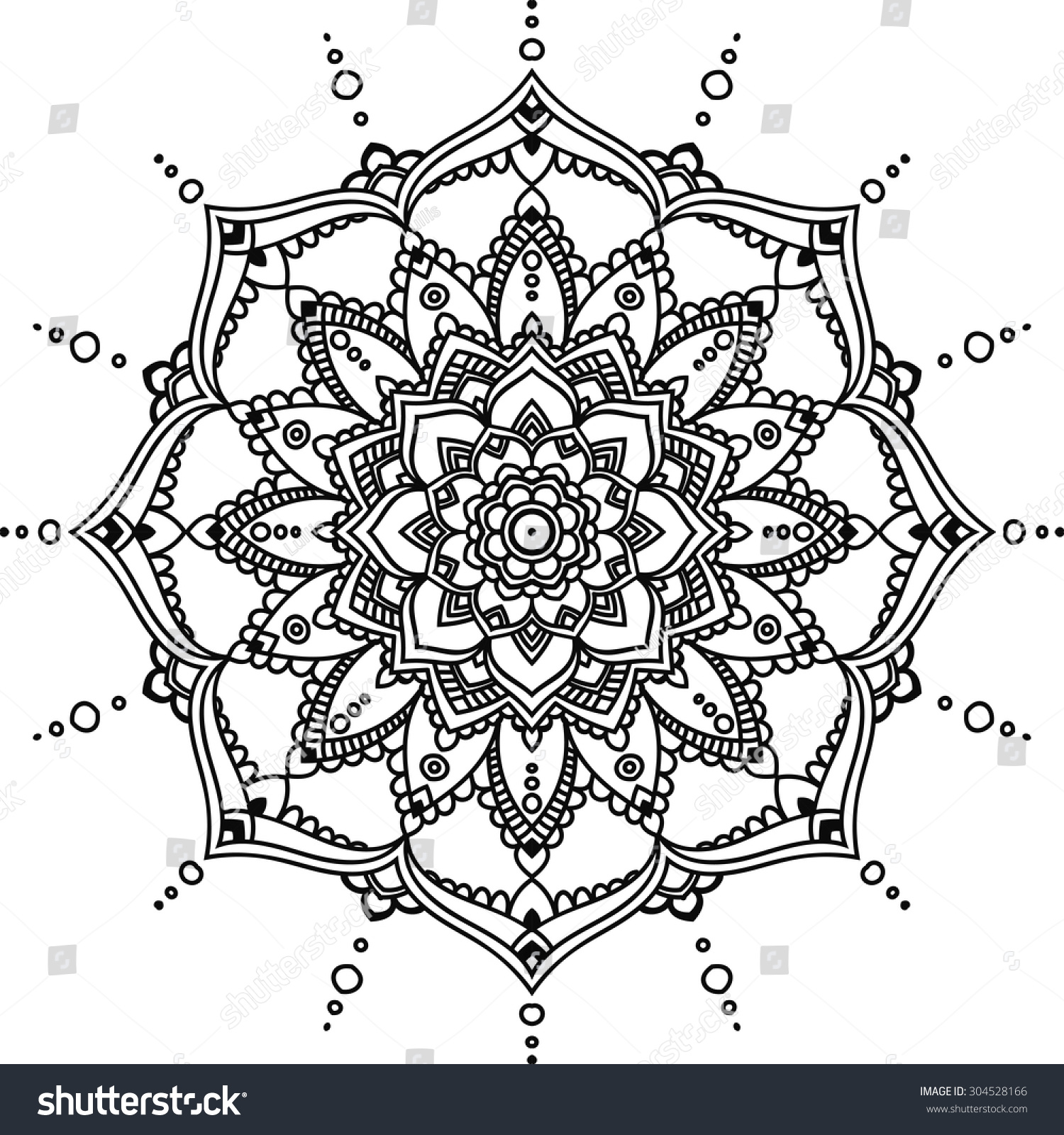 Simple Black Indian Mandala On White Lager-vektor ... | 1500 x 1600 jpeg 650kB