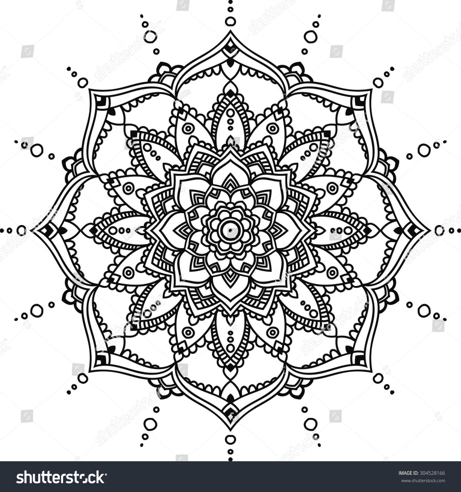 Simple Mandala Black Indian On The White Background