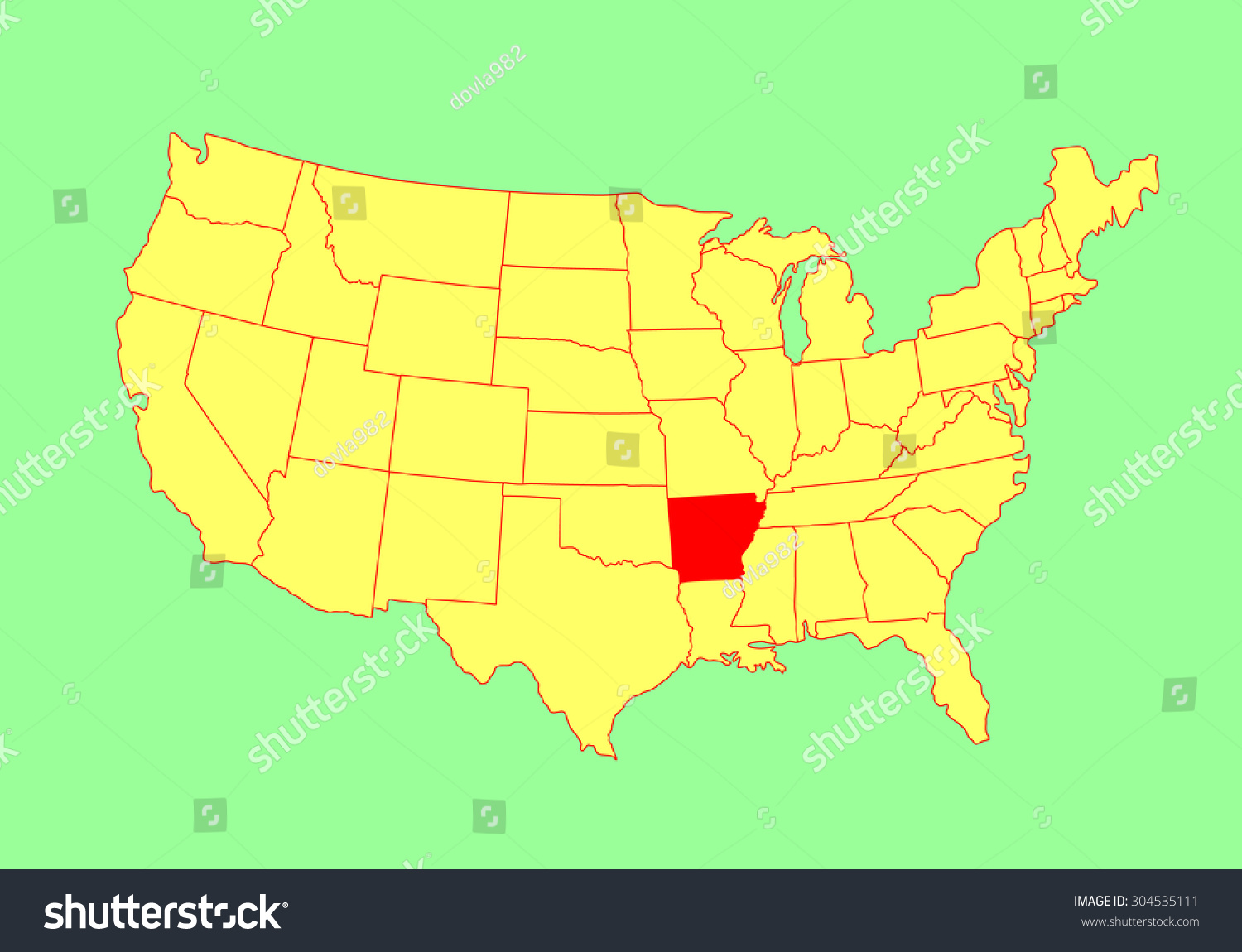 Arkansas State Usa Vector Map Isolated Stock Vector 304535111