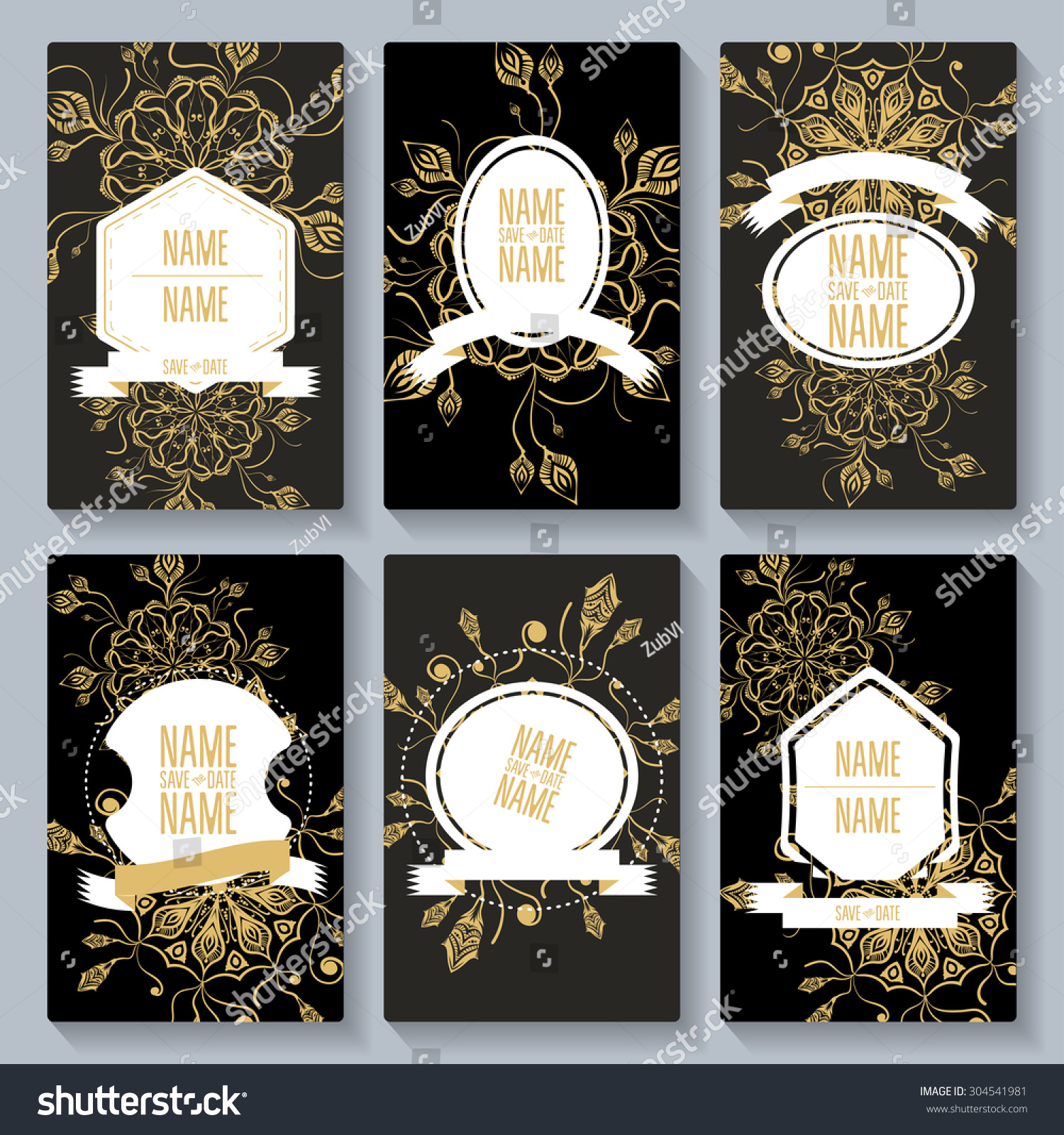 Set Card Save Date Templates Party Stock Vector