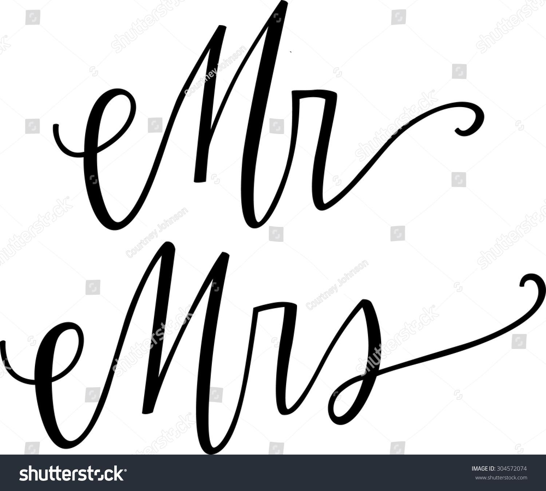 Mr mrs calligraphy set stock vector shutterstock