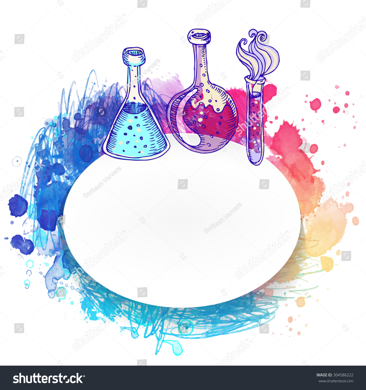 Science Laboratory Background Design: Back To School: Doodle Style Science Laboratory Beakers