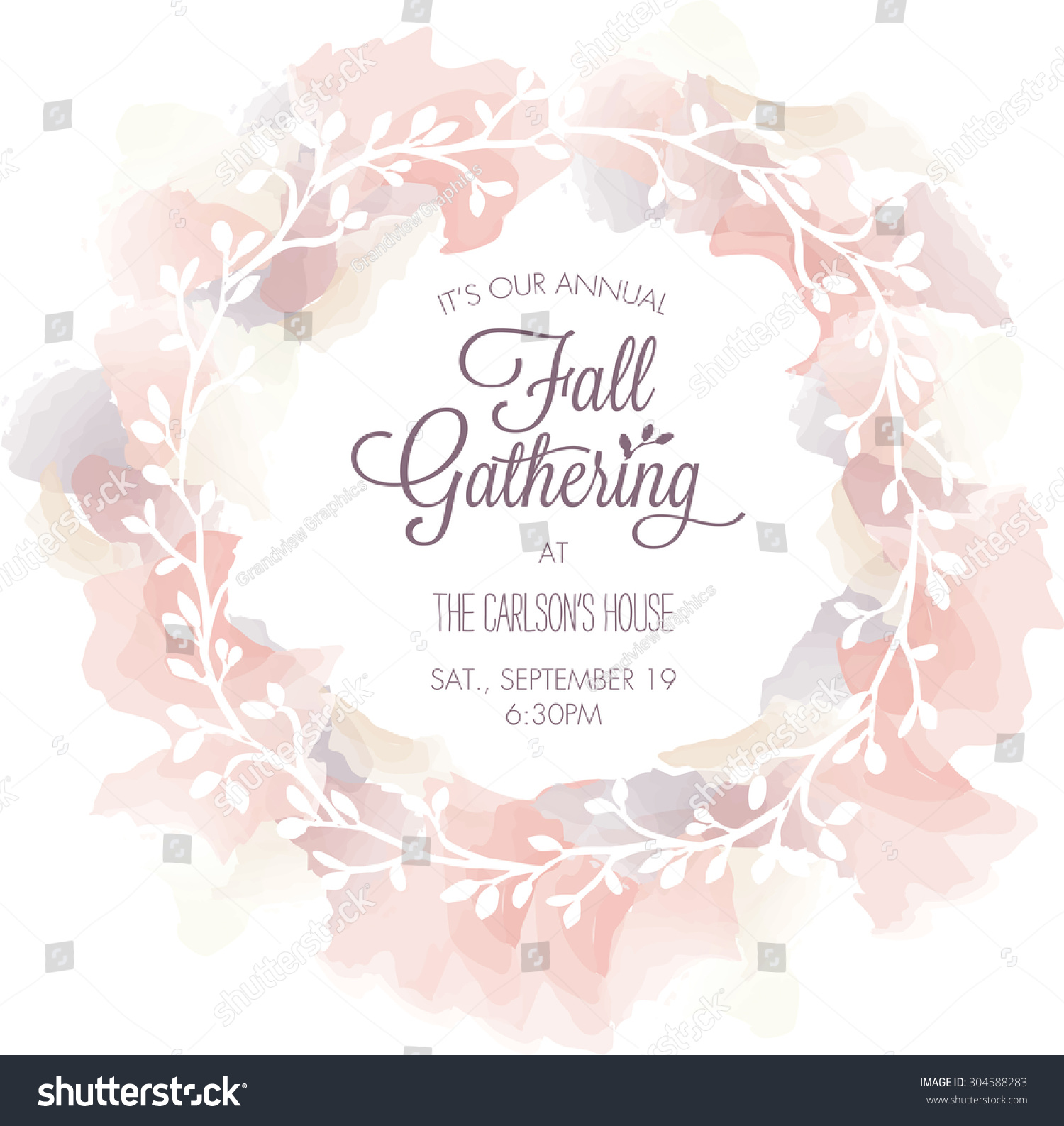 Fall gathering invitation template watercolor wreath stock vector fall gathering invitation template with watercolor wreath vector stopboris Choice Image