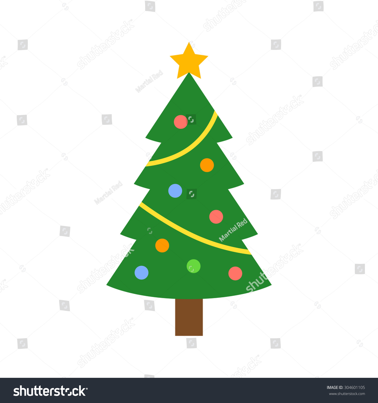 Christmas tree decorations star flat icon stock vector for Christmas decoration websites