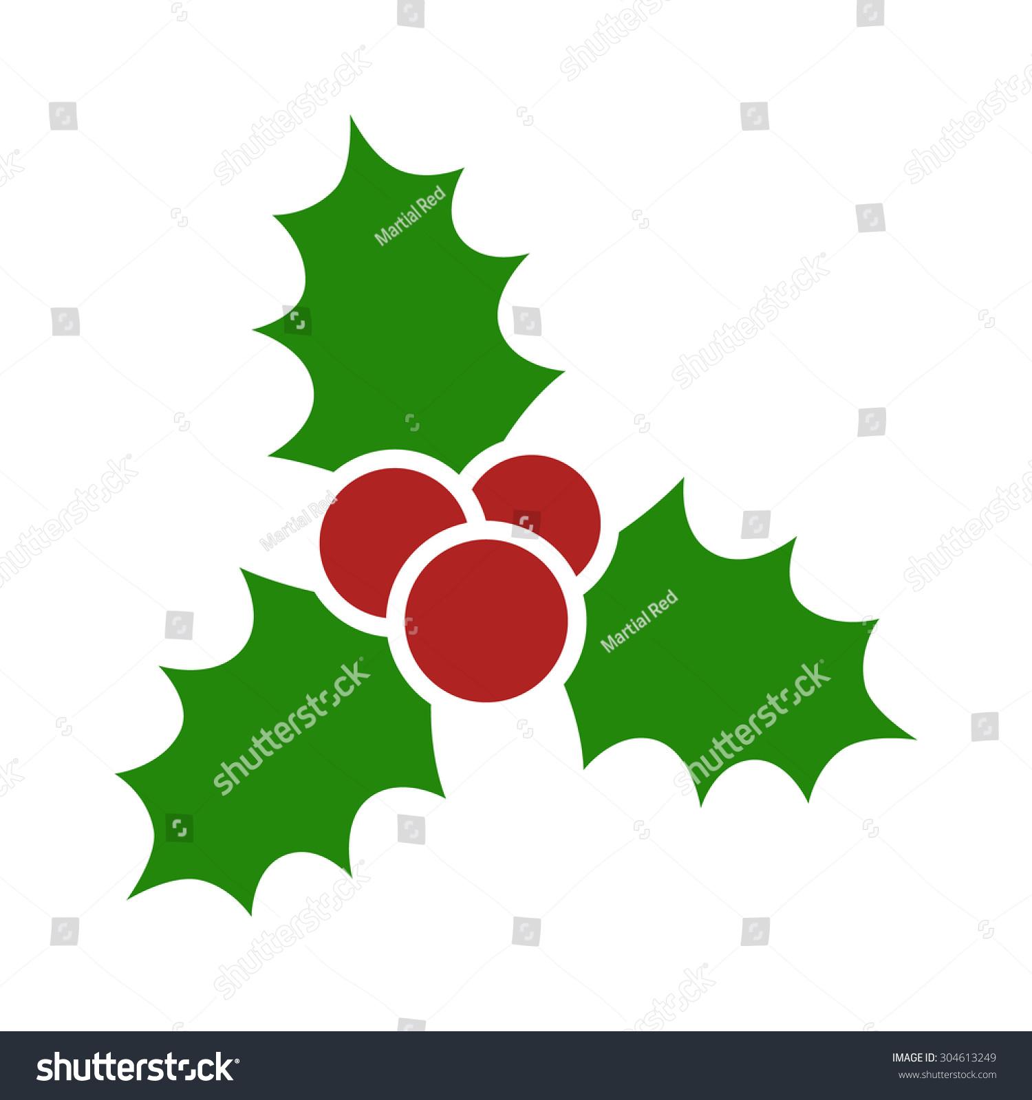 Christmas Mistletoe Leaves Berries Flat Vector Stock-Vektorgrafik ...