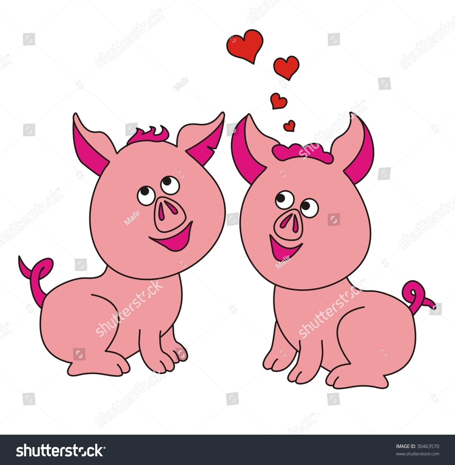 In Love Cartoon: Cartoon Cute Pigs In Love Stock Vector Illustration