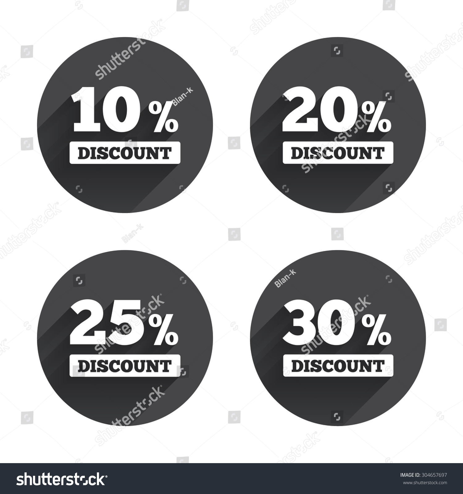 Sale discount icons. Special offer price signs. 20, 30, 40 and 50 ...