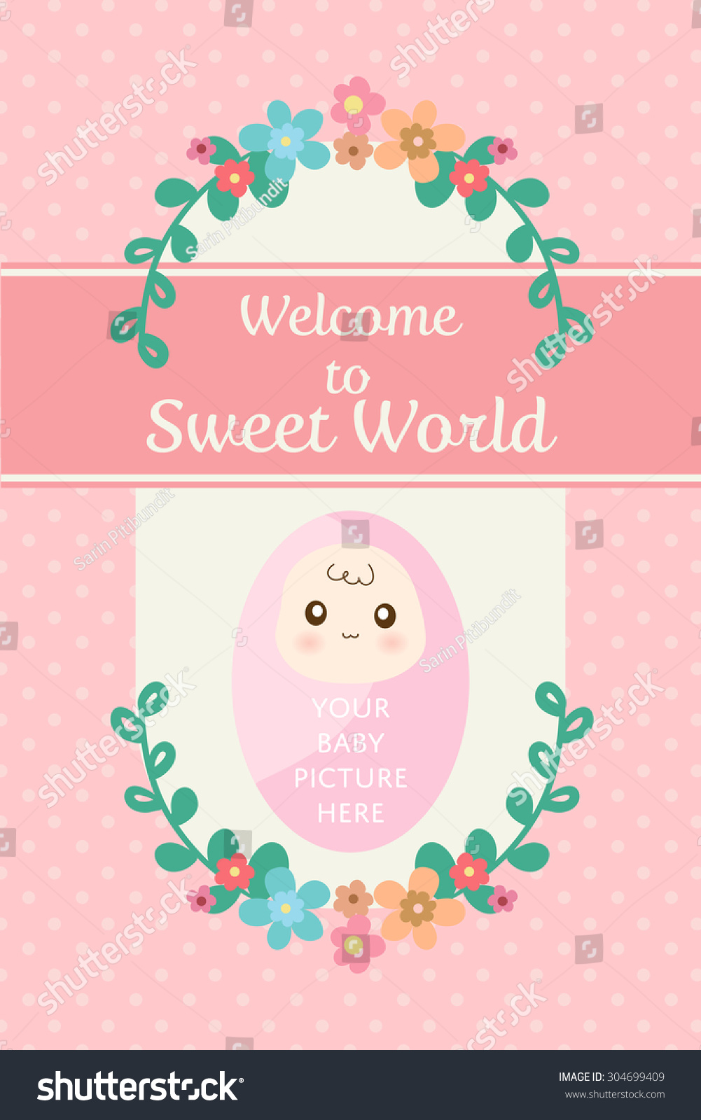 Cute pastel card new born baby stock vector 304699409 shutterstock cute pastel card for new born baby or infant congratulation or birth day celebration kristyandbryce Gallery