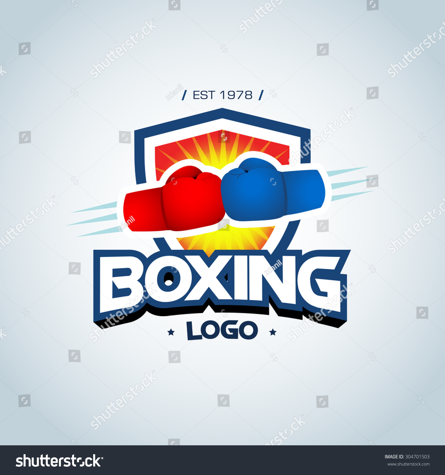 Boxing logo template. Two boxing gloves in red and blue colors. Boxing ...