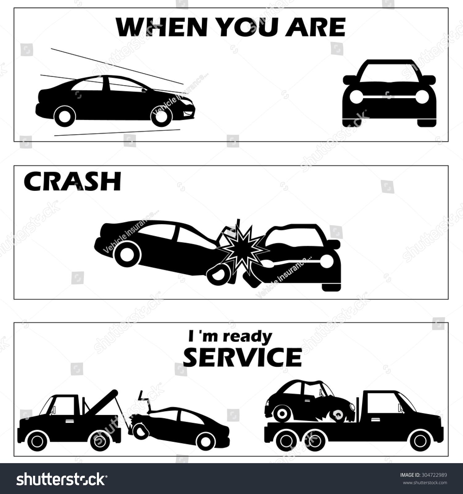 Car Crash Accident Silhouette Mode Vector Stock Vector