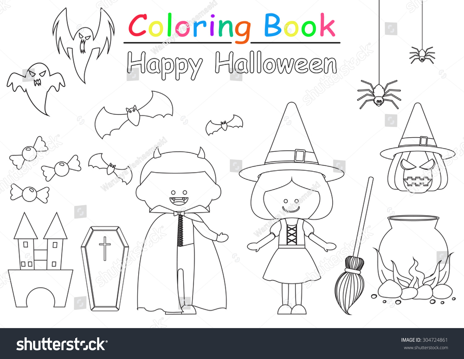 Halloween Coloring Book Stock Vector 304724861