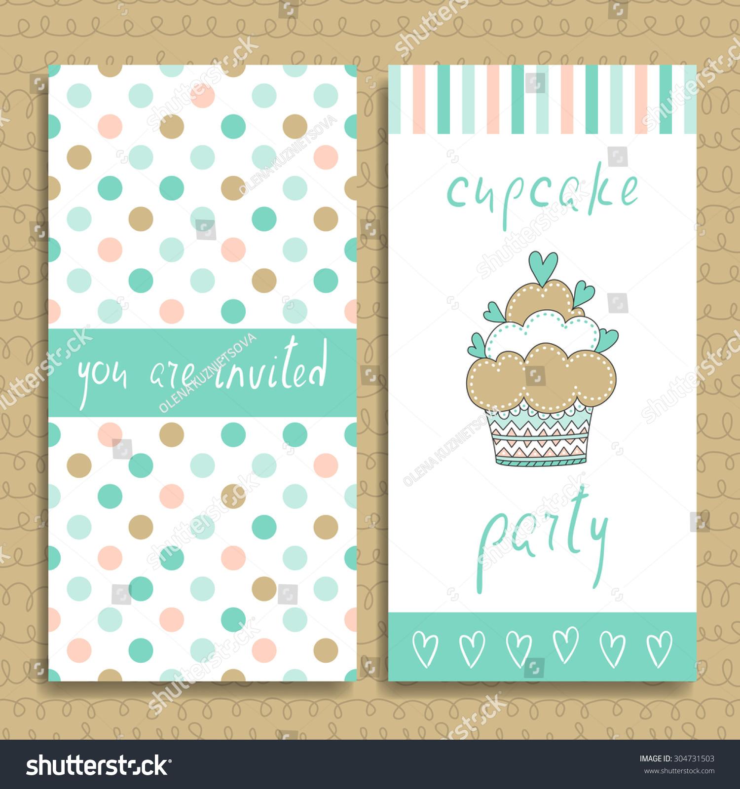 Cupcake Party Invitation Card Vector Illustration Stock Vector HD ...