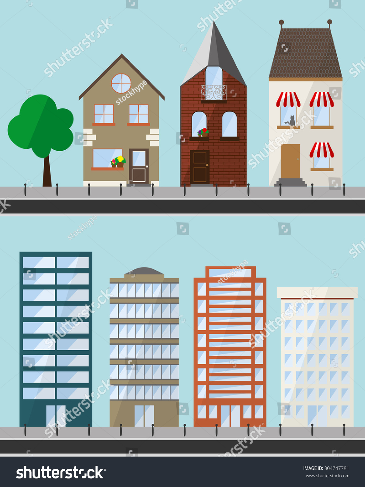 Astonishing Different Flat Houses Buildings Different Shapes Stock Vector Largest Home Design Picture Inspirations Pitcheantrous