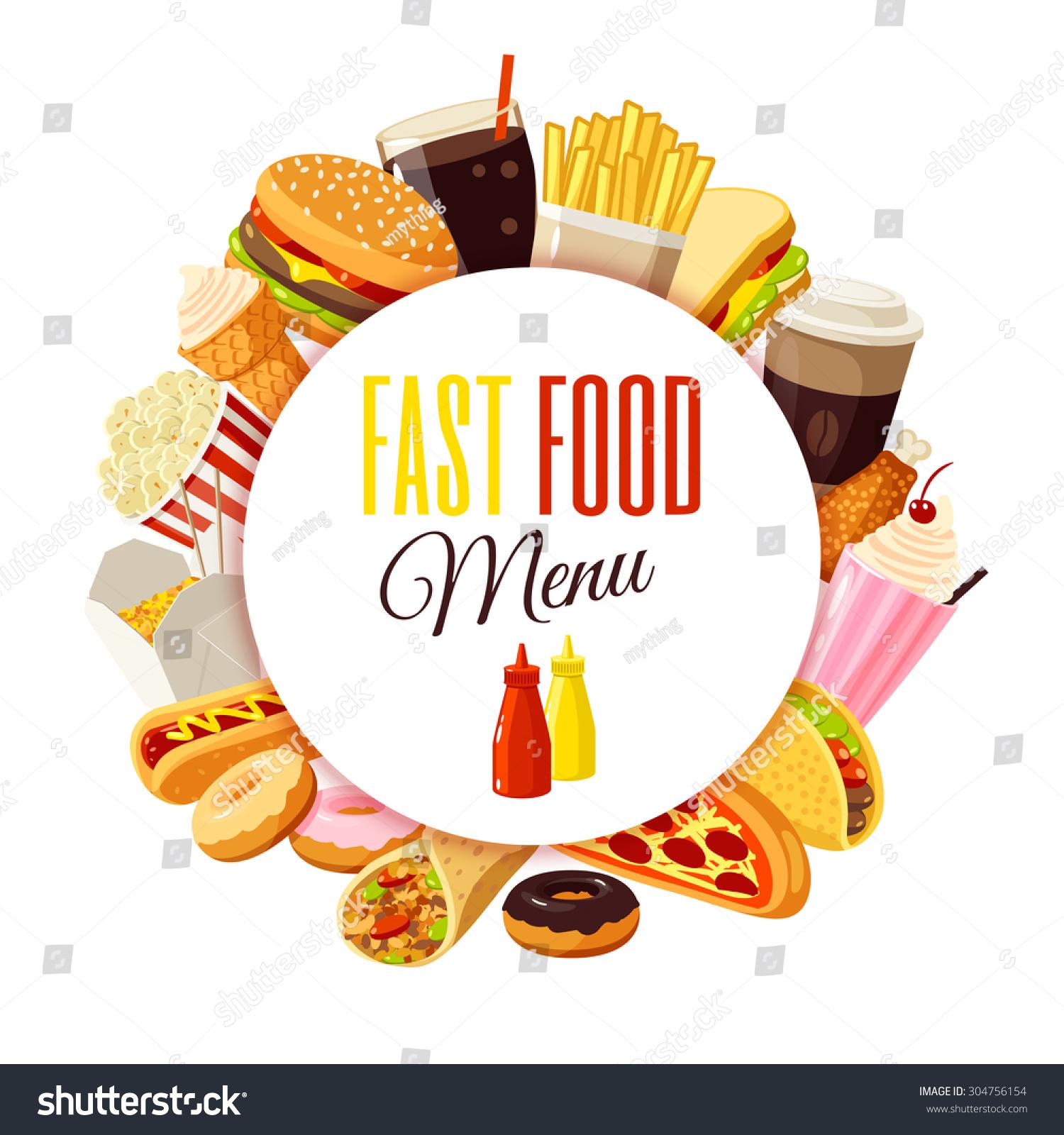 fast food menu label hamburger french stock vector (royalty free