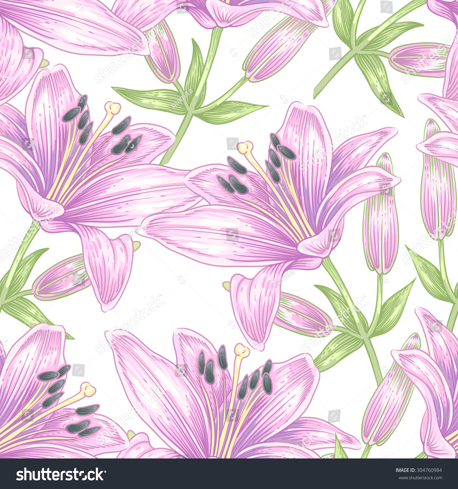 Seamless vector pattern illustration lily flowers stock vector illustration lily flowers designs for textiles upholstery fabric interior izmirmasajfo