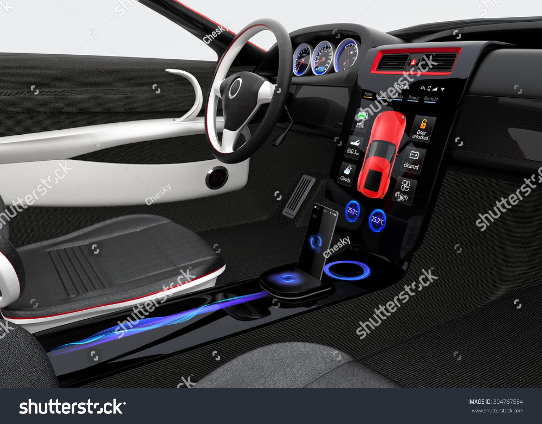 Futuristic Electric Vehicle Dashboard Interior Design Stock