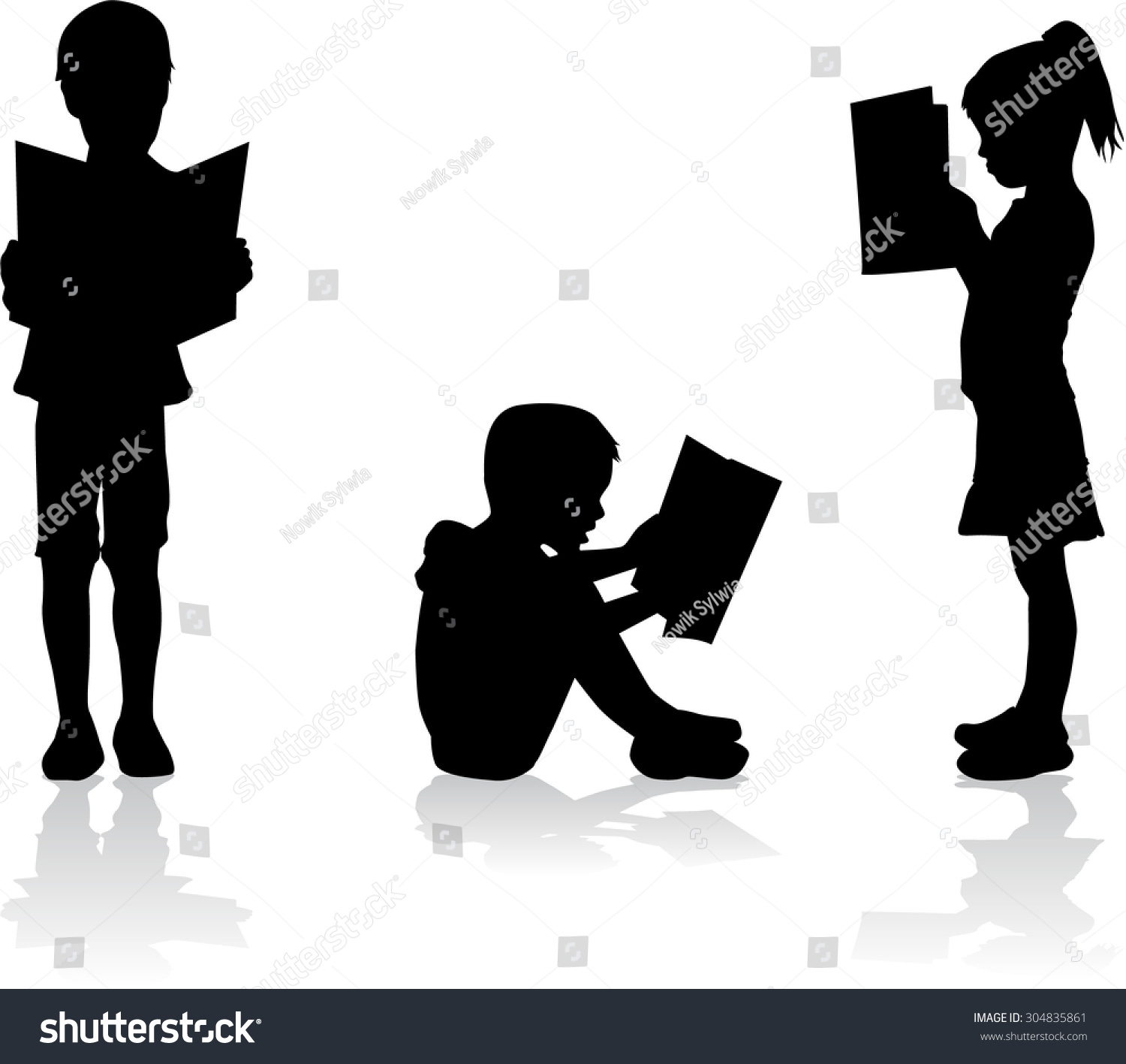 Silhouette Child Reading Book At Stock Vector 304835861 - Shutterstock Children Reading Silhouette