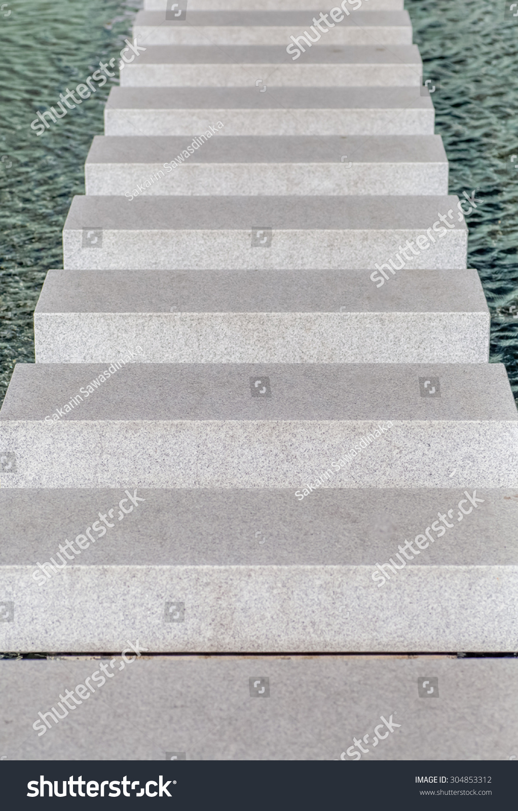 Close Up Of Empty Modern Concrete Staircase Or Stair With Metal Rail  Ascending | EZ Canvas