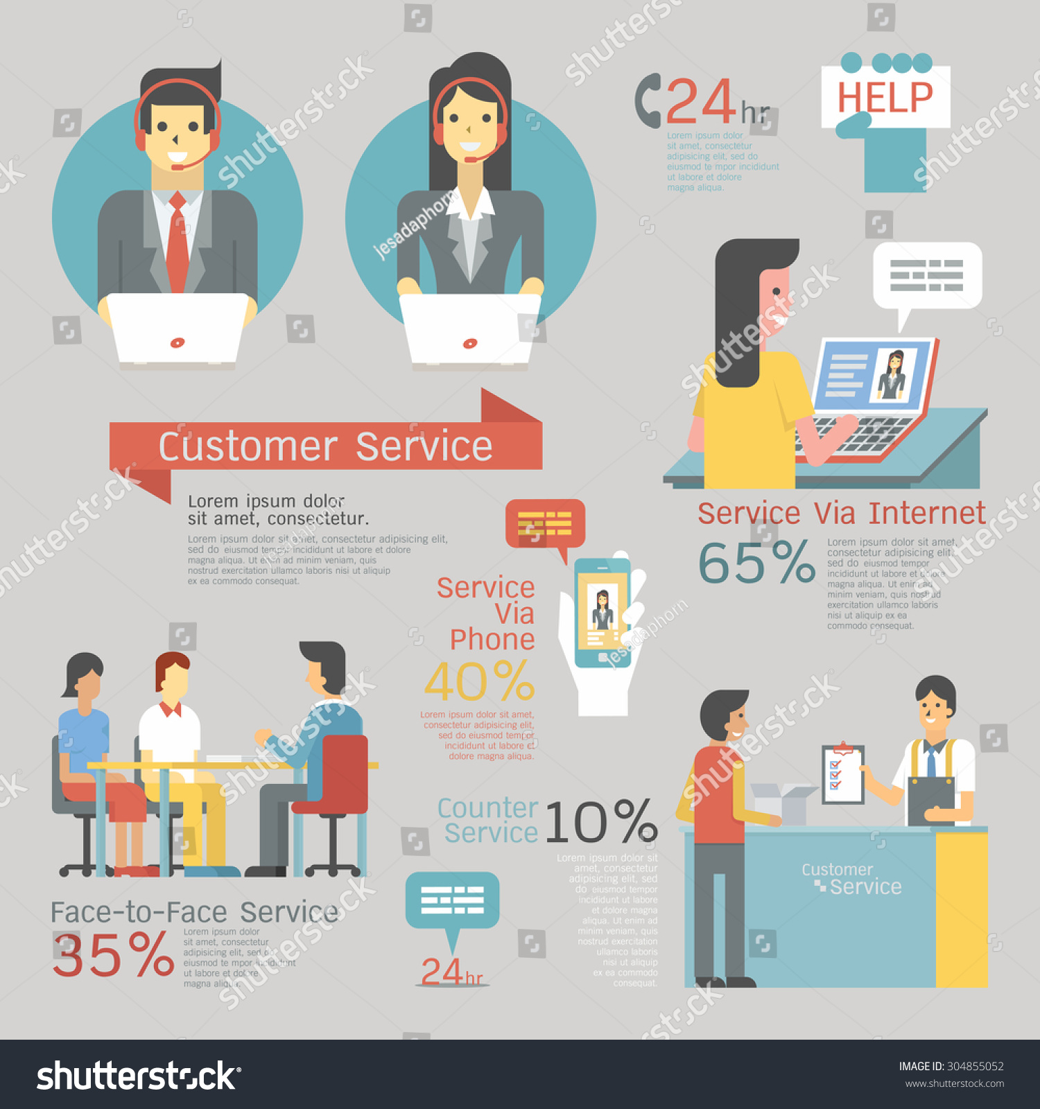 Infographics Customer Service Set Call Center Stock Vector ...