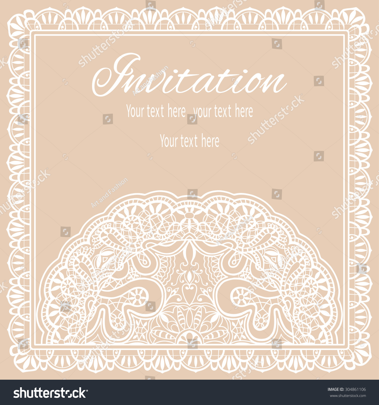 Wedding Invitation Greeting Card Design Lace Stock Vector ...