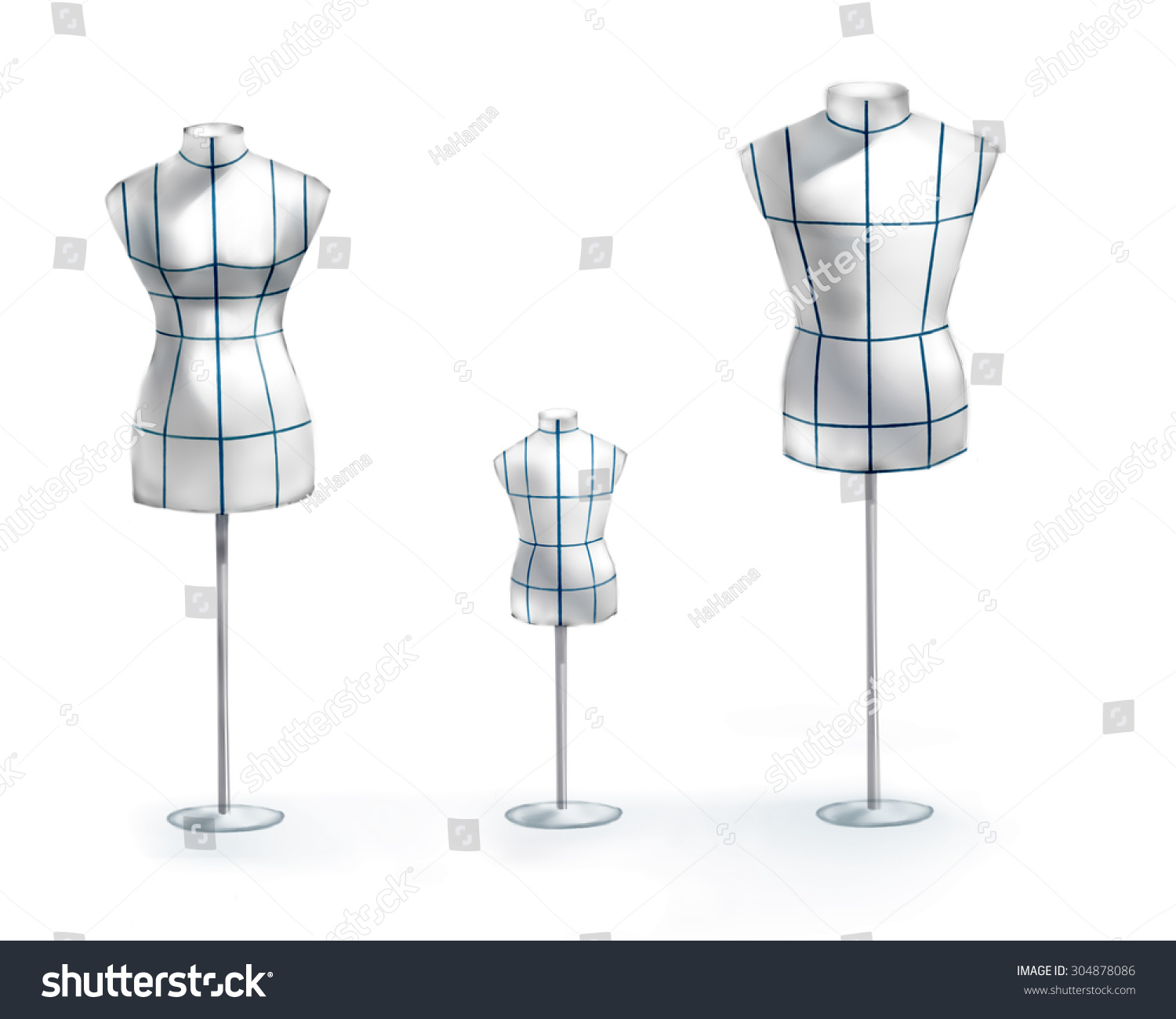 Hand Draw Fashion Illustration Watercolor Mannequins Stock Illustration 304878086