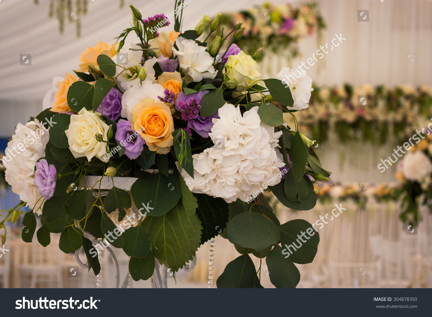 Flowers bouquet flowers banquet hall wedding stock photo edit now flowers bouquet of flowers in a banquet hall wedding izmirmasajfo