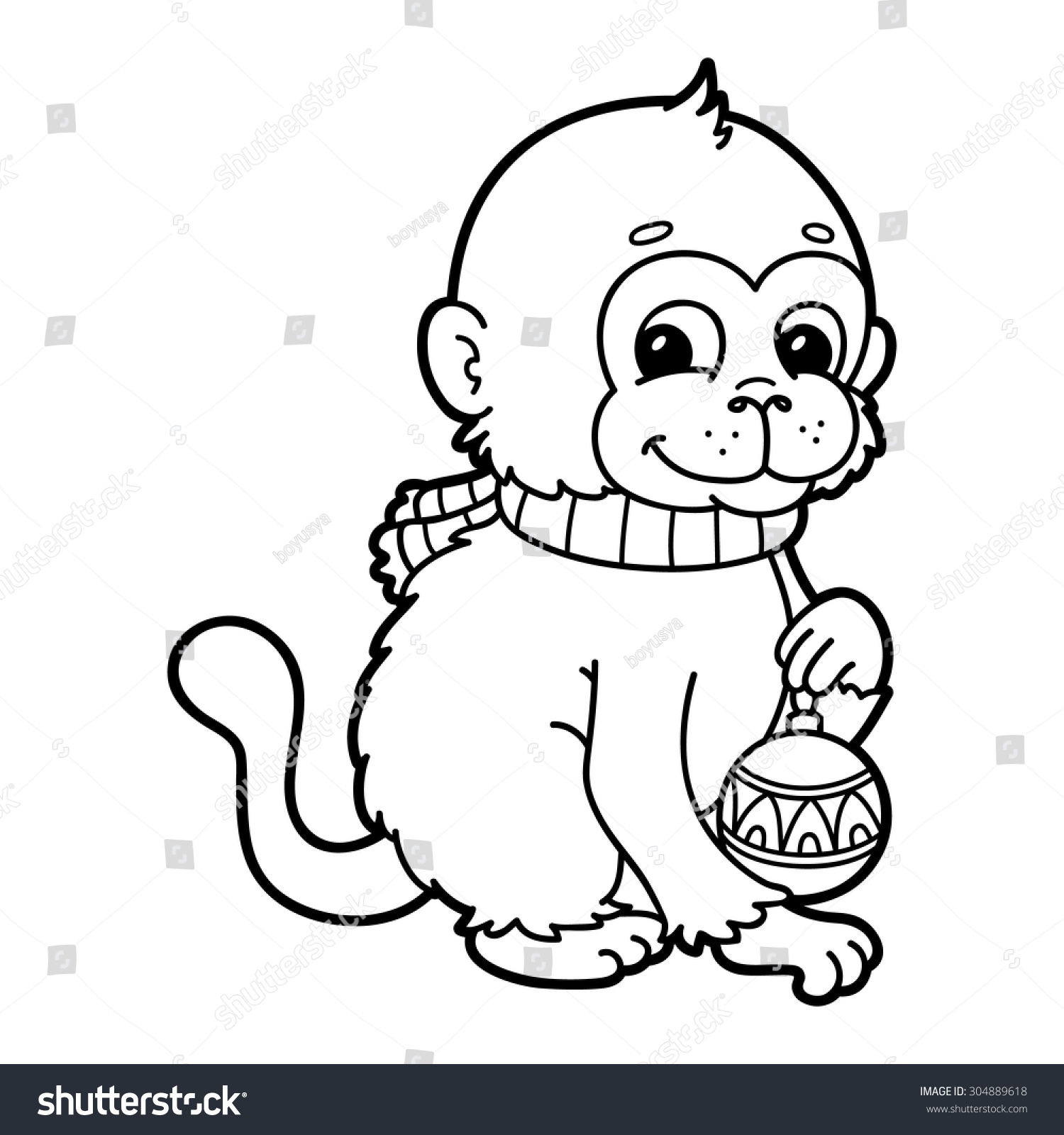 funny monkey vector illustration coloring page stock vector