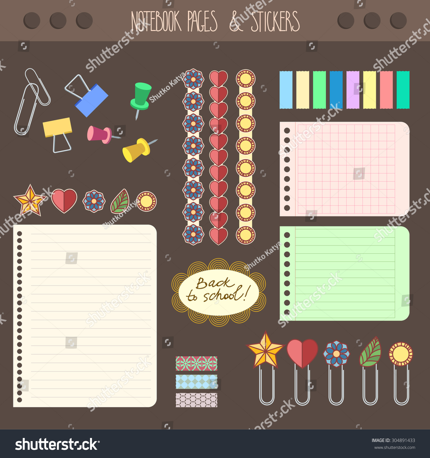 set of pages notebook with stickers colored tape staples template for school accessories