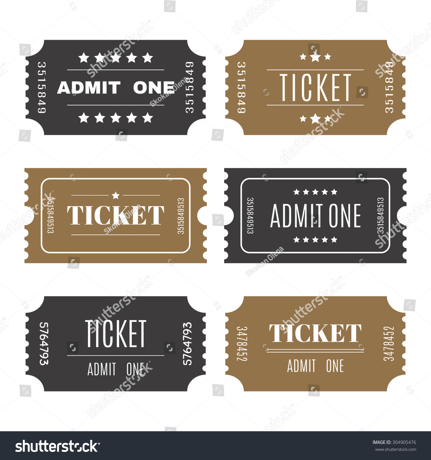 Paper Tickets Numbers Set Vector Templates Vector 304905476 – Template for Tickets with Numbers