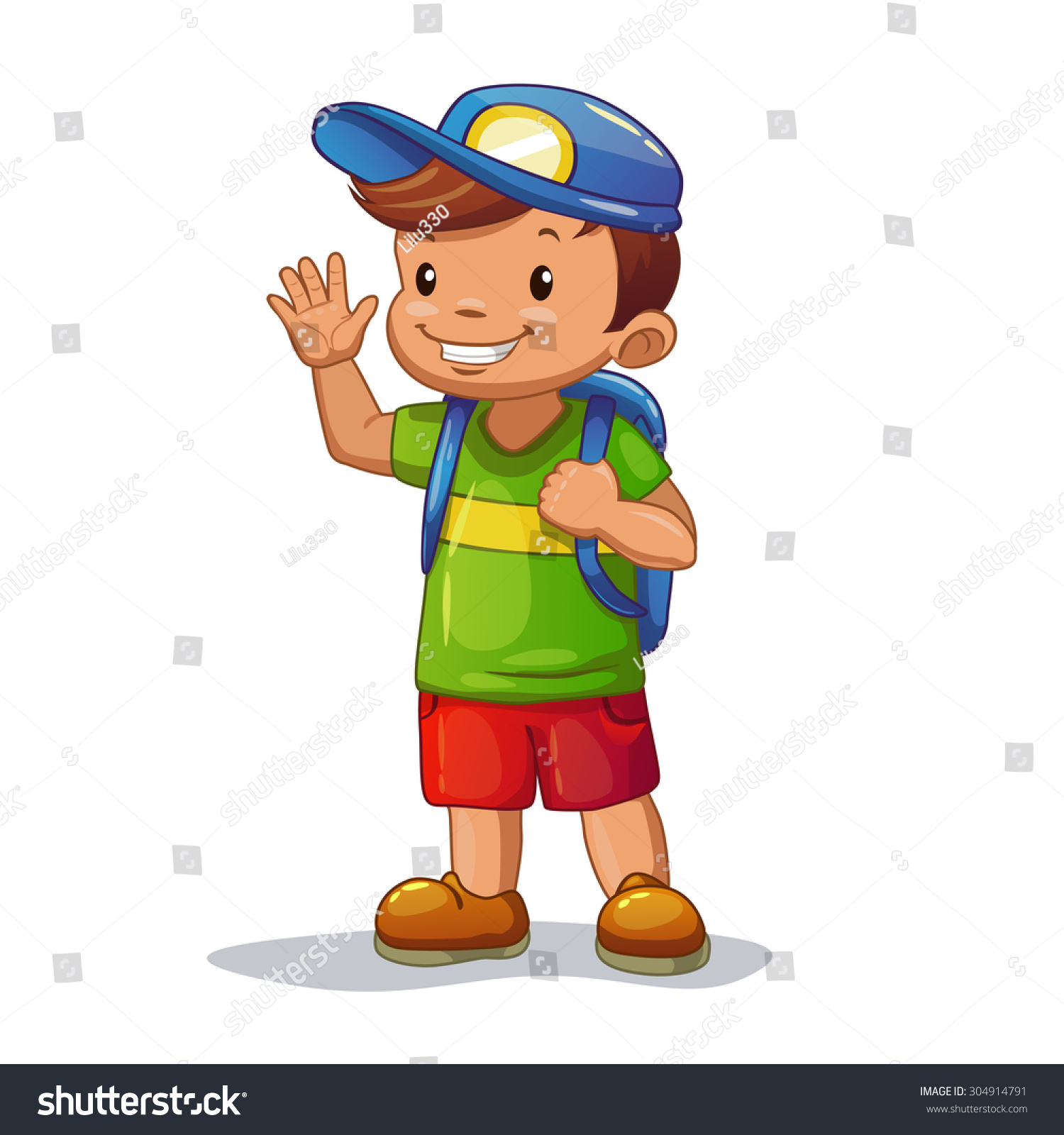 funny cartoon little boy school bag stock vector 304914791