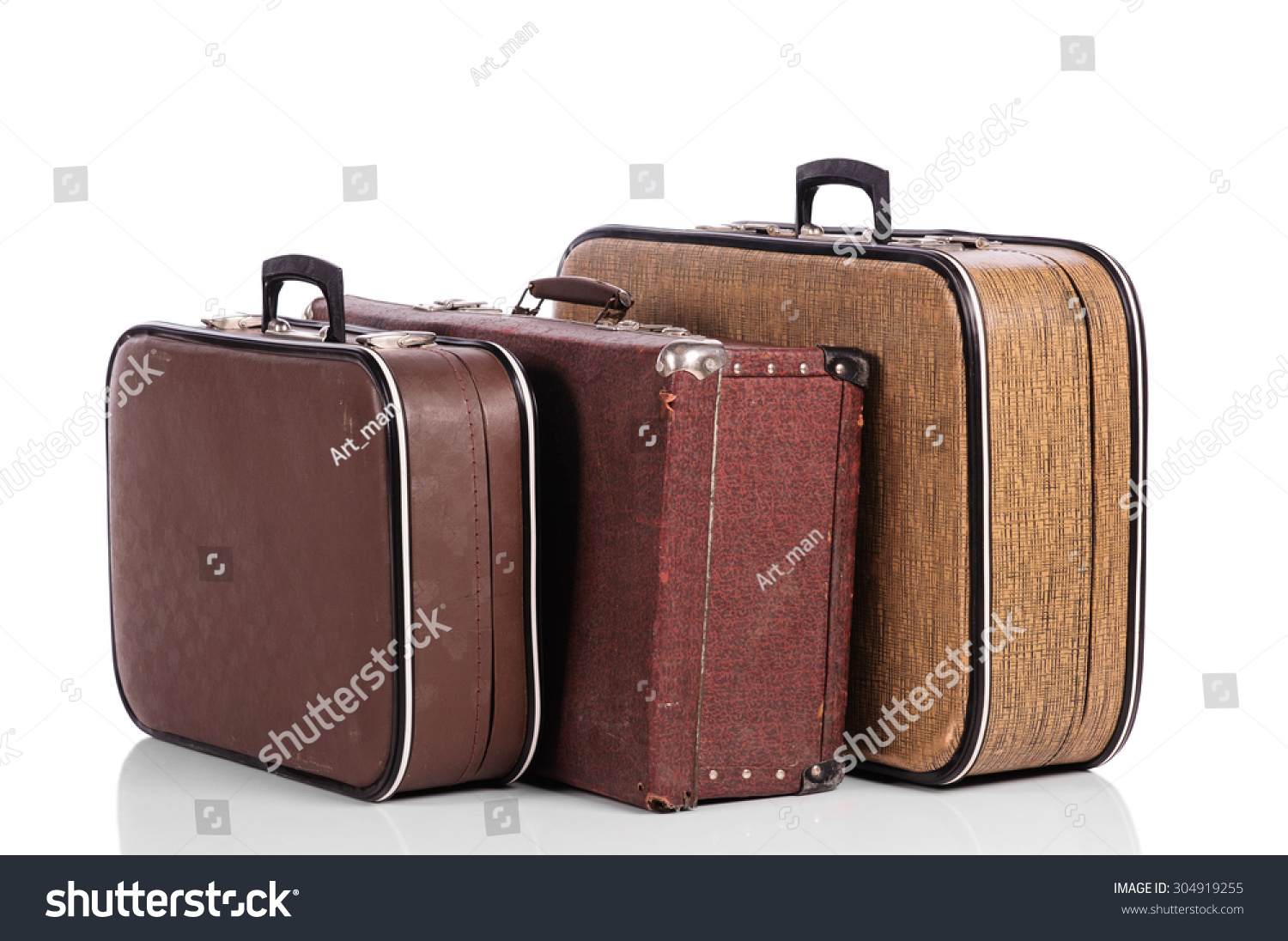Old Vintage Suitcase Isolated On White Stock Photo 304919255 ...