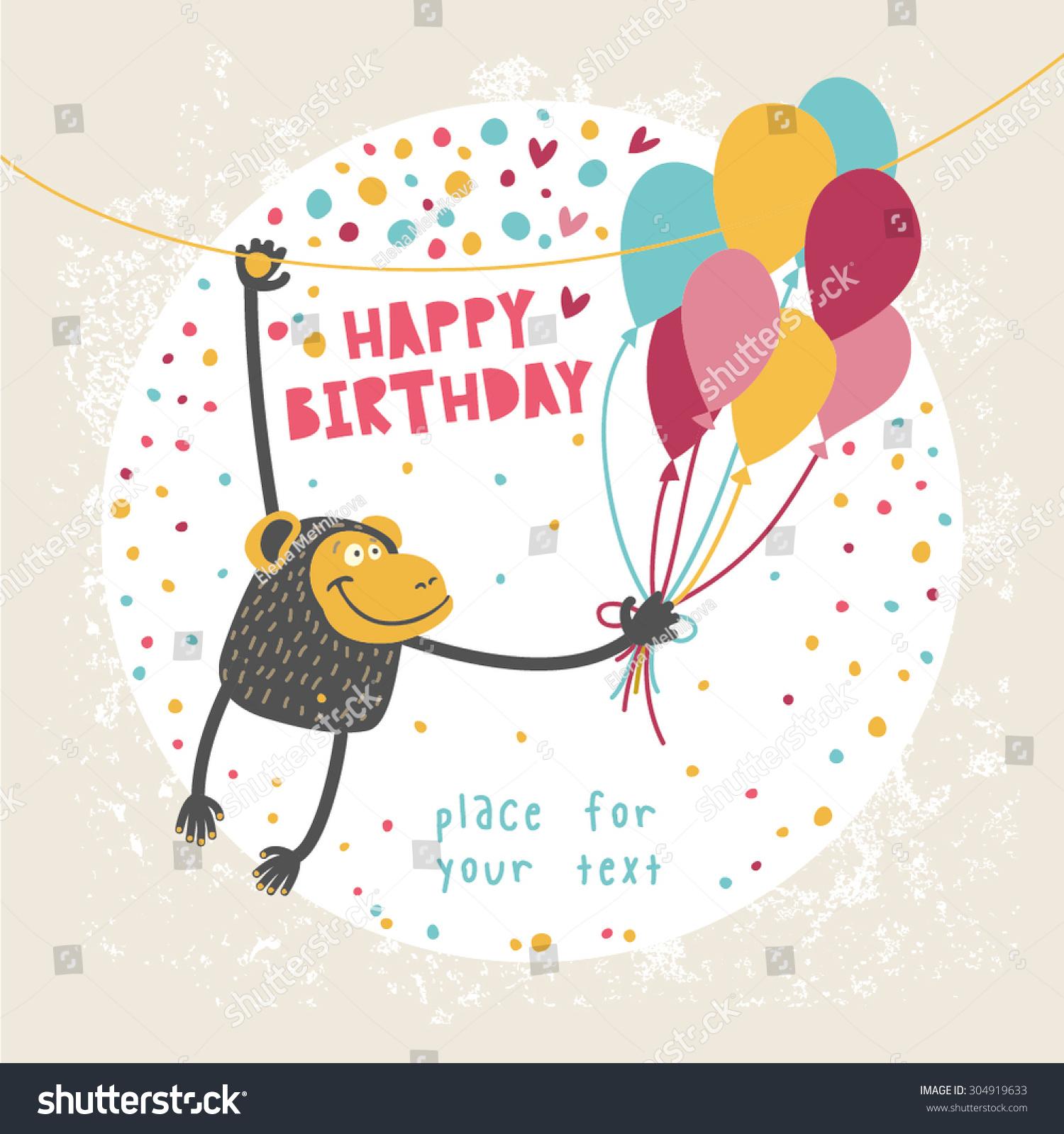 Happy Birthday Card Funny Monkey Balloon Vector 304919633 – Monkey Birthday Card