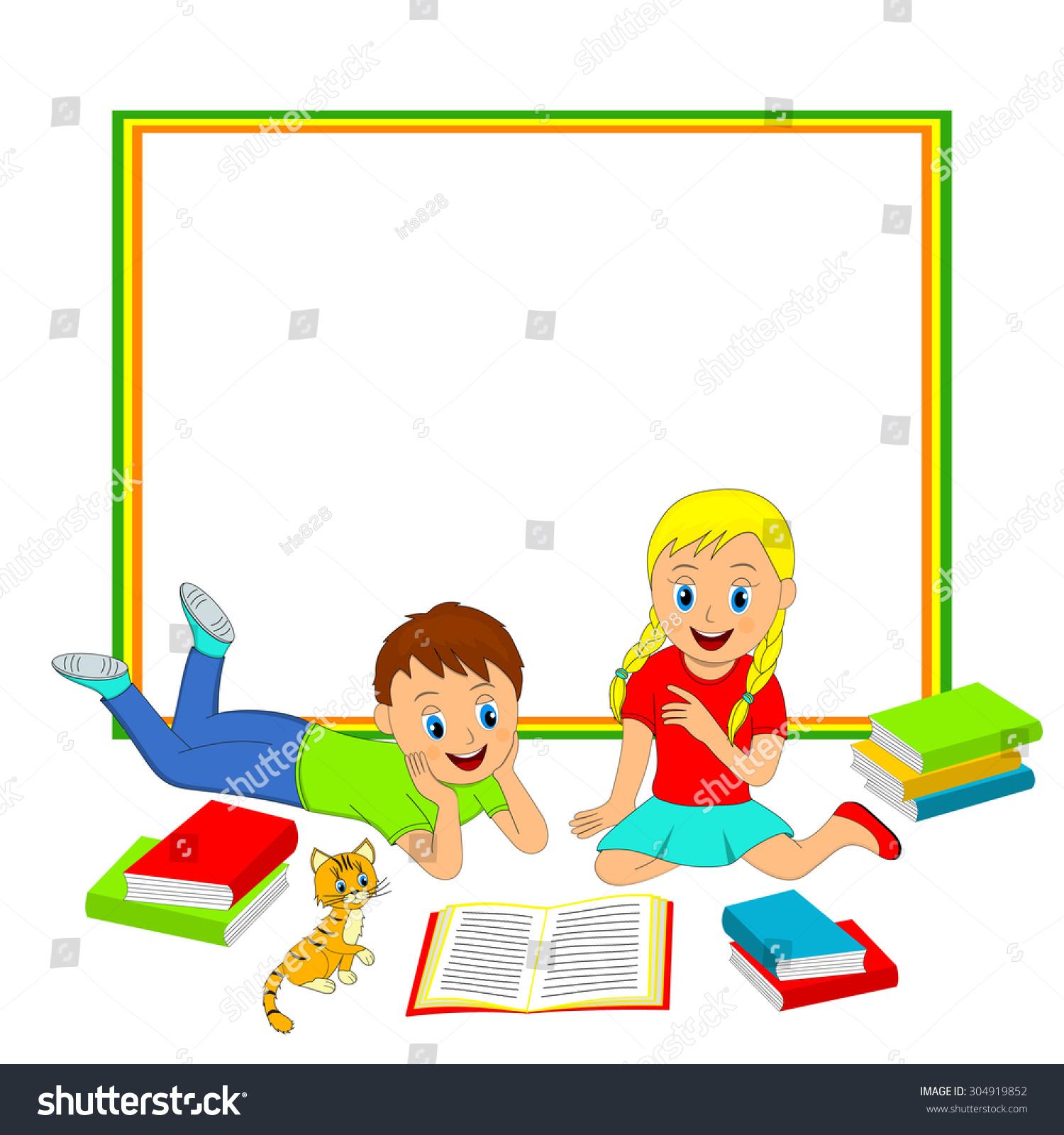 Frame Children Boy Girl Reading Book Stock Vector 304919852