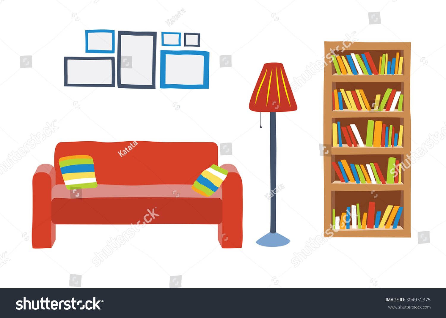 Interior Living Room Cartoon Style Sofa Stock Vector 304931375 ...