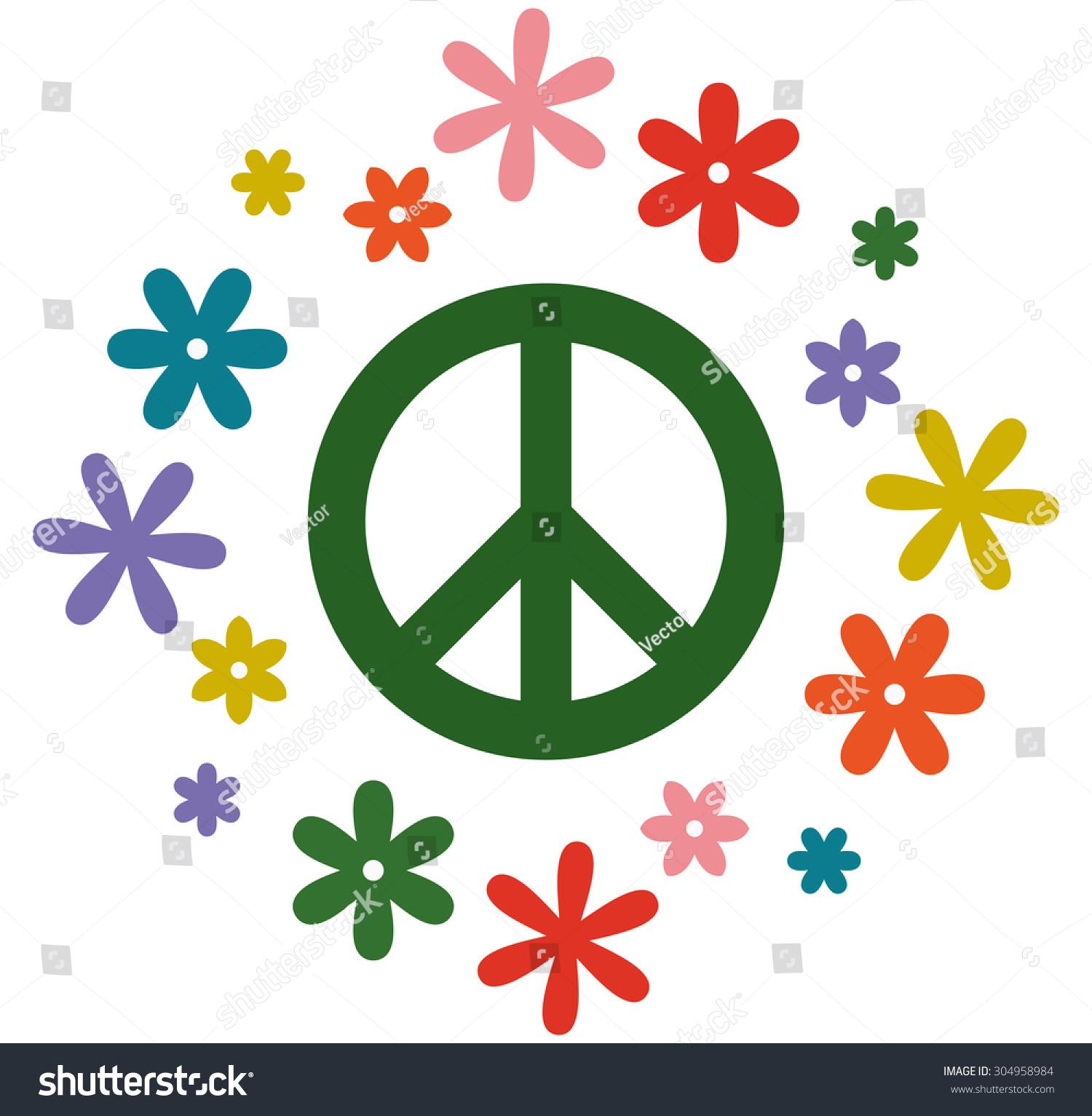 Peace Symbol Flower Power Vector Illustration Stock Vector Royalty