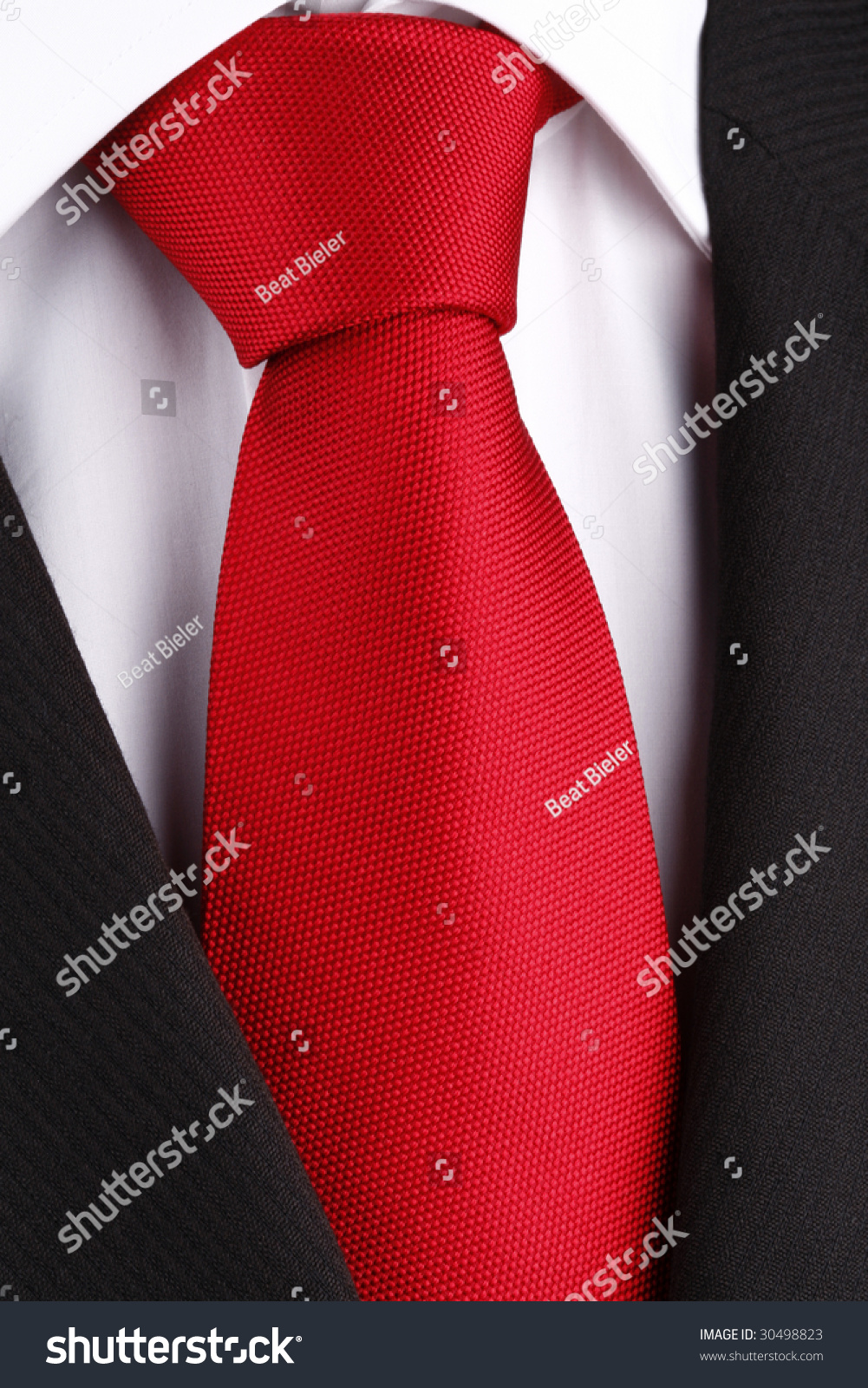 Bright Red Tie On White Shirt Stock Photo 30498823 - Shutterstock