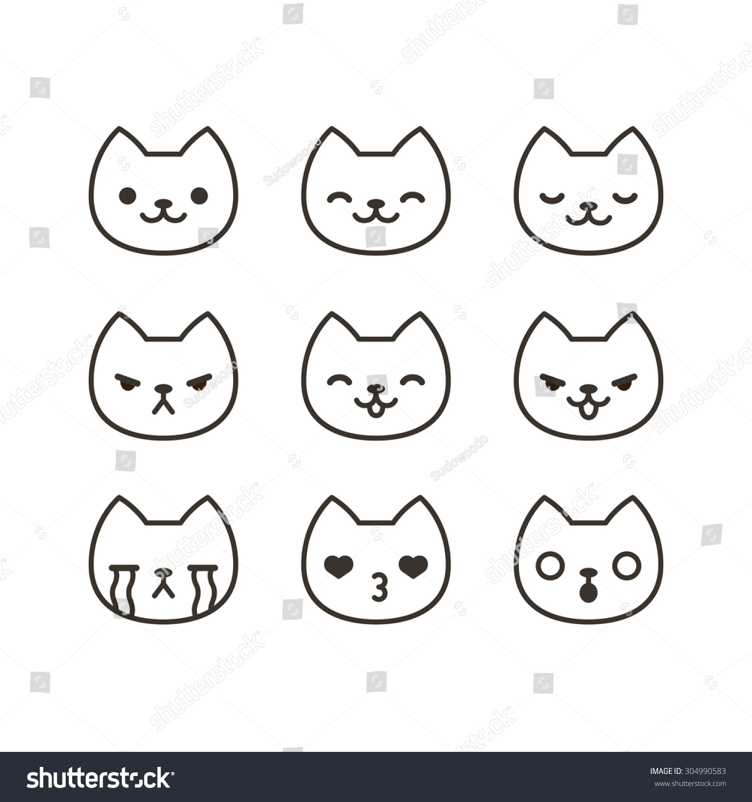 Set Cute Cat Emoticons Different Expressions Stock Vector ...